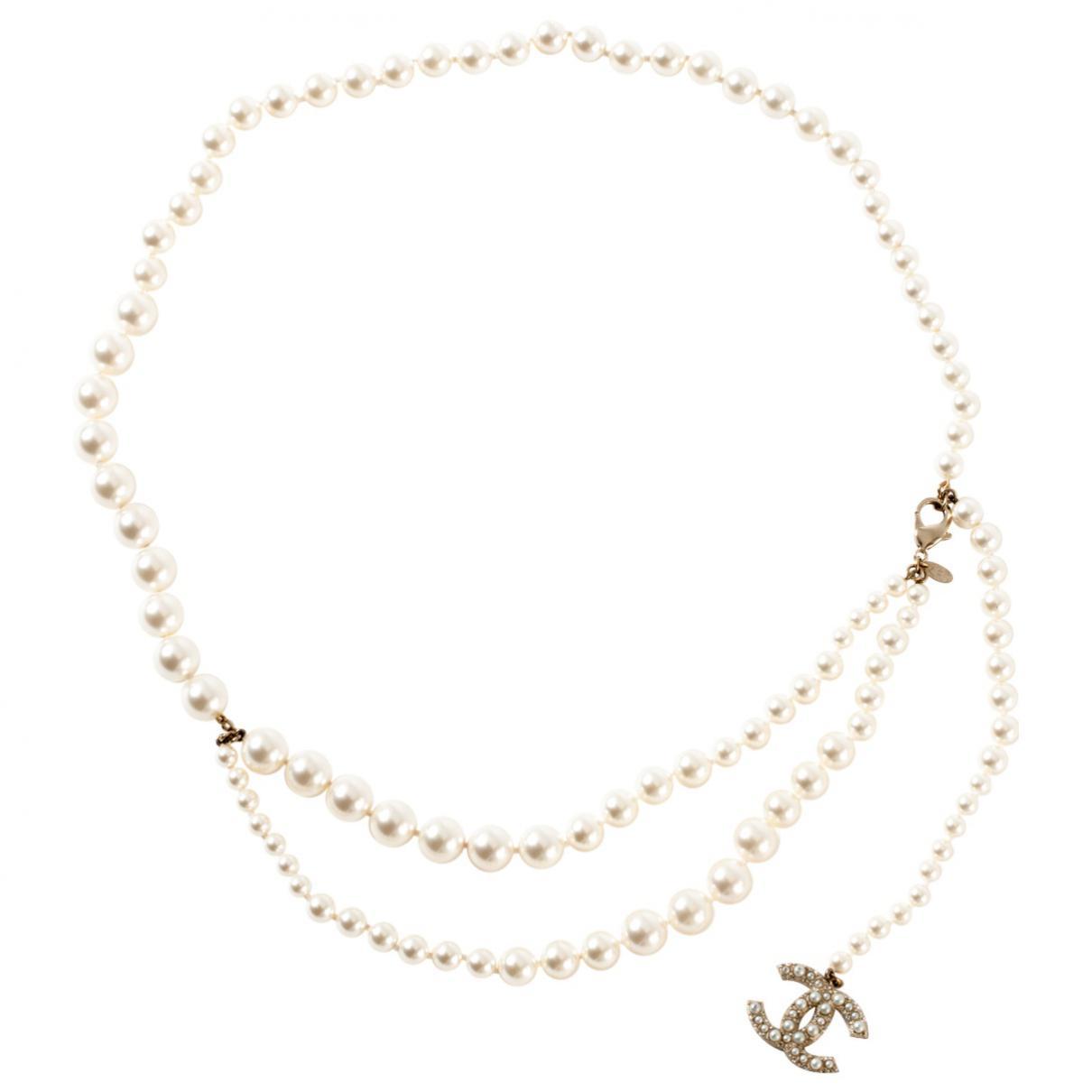 Lyst - Ceinture en perles Chanel en coloris Blanc ca35dba2d14