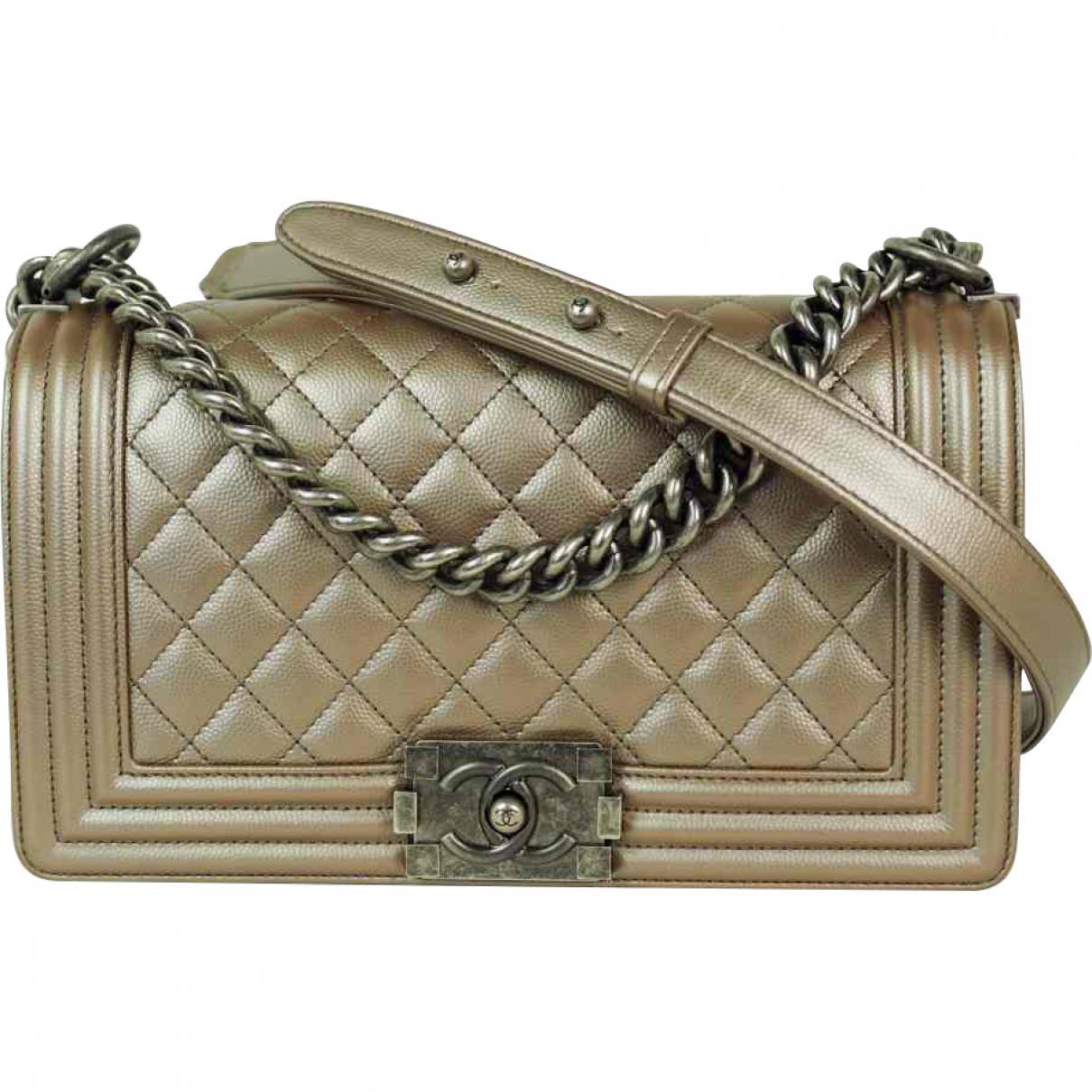 1abd9297896c Lyst - Chanel Boy Leather Handbag in Metallic