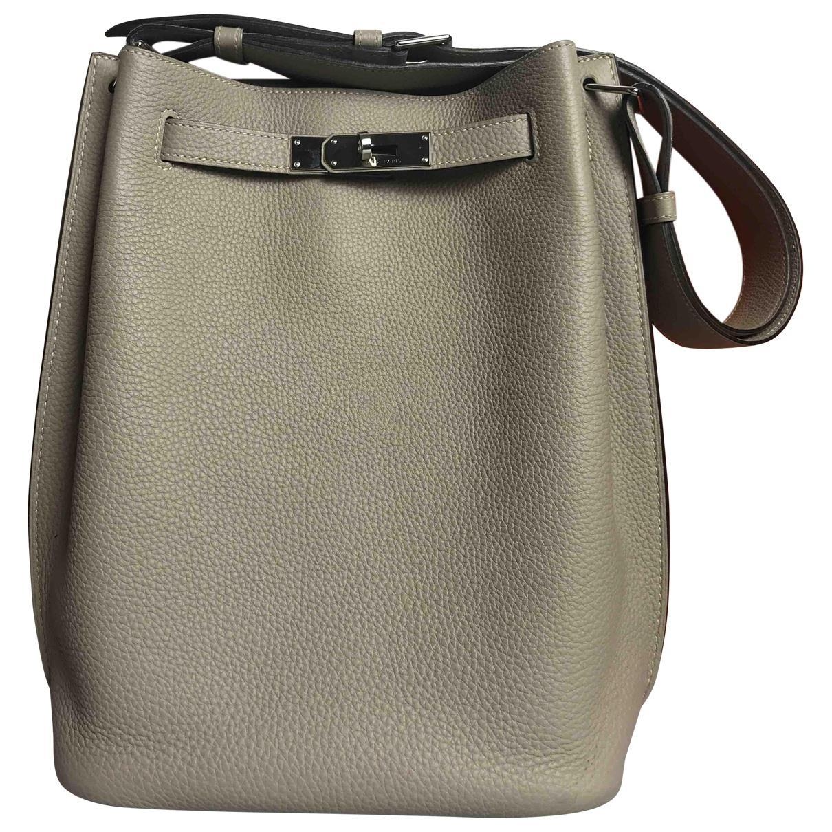 9958410f3378 Hermès So Kelly Leather Handbag in Gray - Lyst