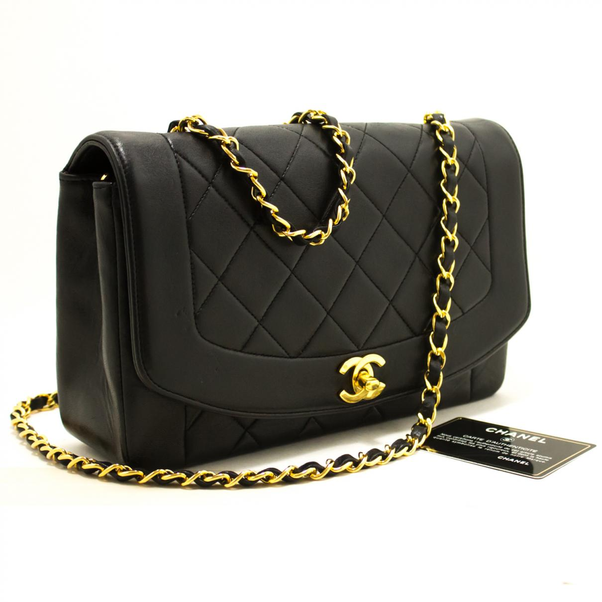 52d67f97c93e Lyst - Chanel Pre-owned Vintage Diana Black Leather Handbags in Black