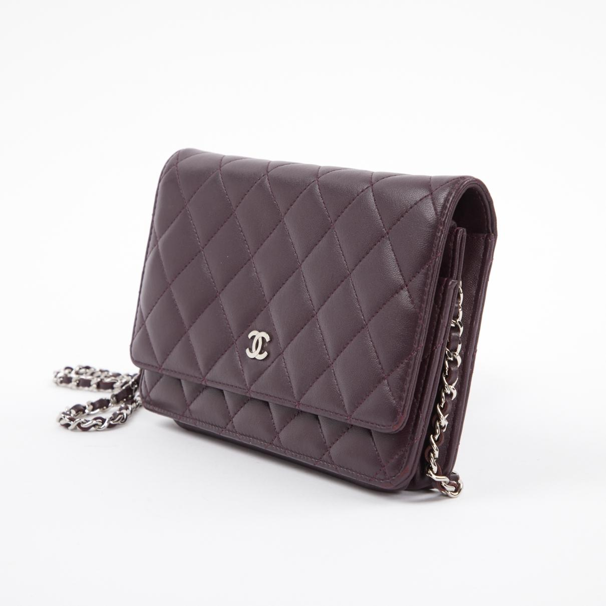3c8fc5d5a8ab Chanel - Wallet On Chain Purple Leather Handbag - Lyst. View fullscreen