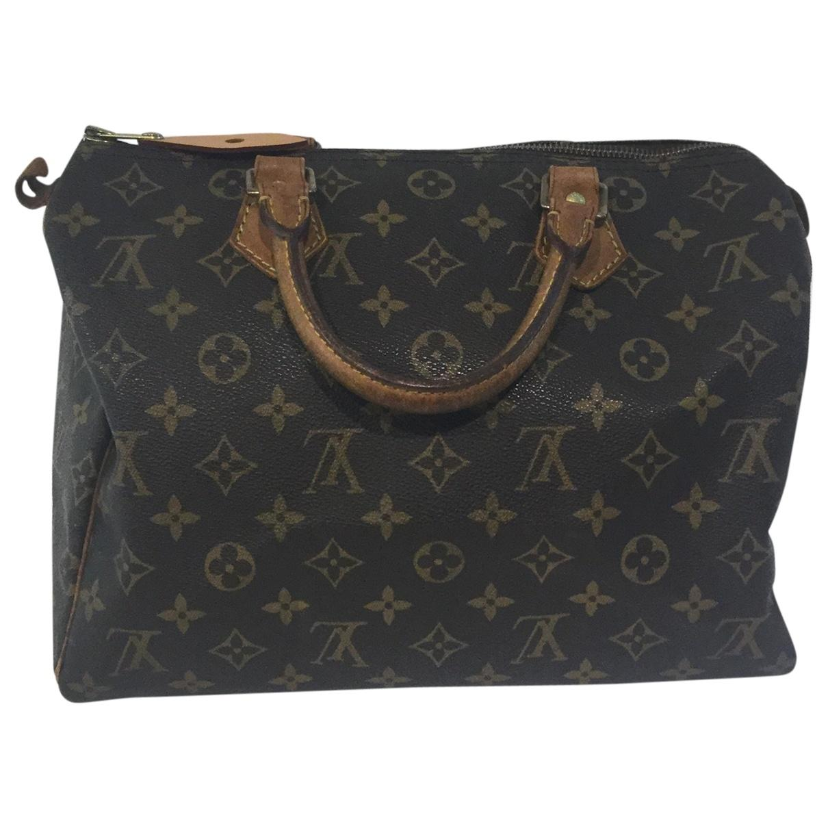 2638f163d0f5 Lyst - Louis Vuitton Pre-owned Vintage Speedy Brown Cloth Handbags ...