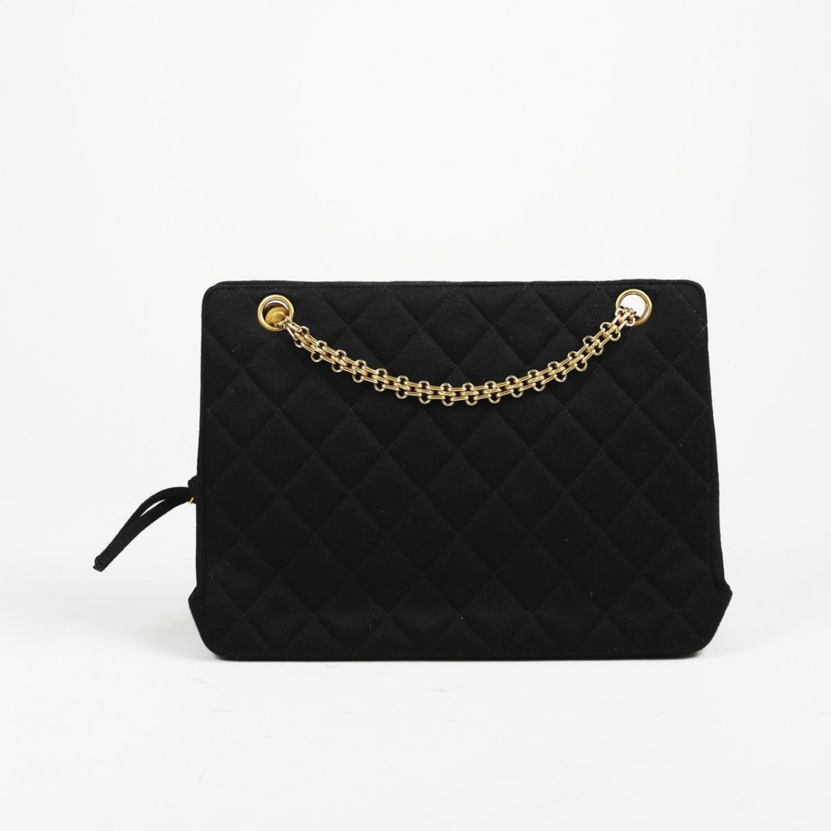 97ee917ac573 Chanel Pre-owned Vintage Black Cloth Handbags in Black - Lyst