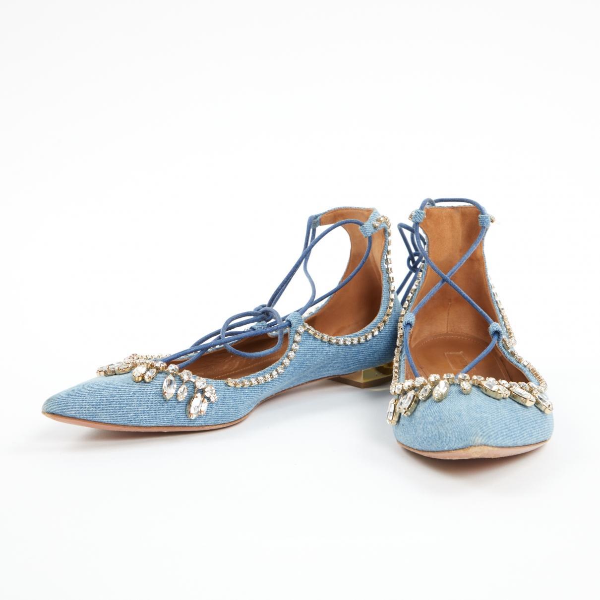 13d43951340 Aquazzura Christy Cloth Ballet Flats in Blue - Lyst