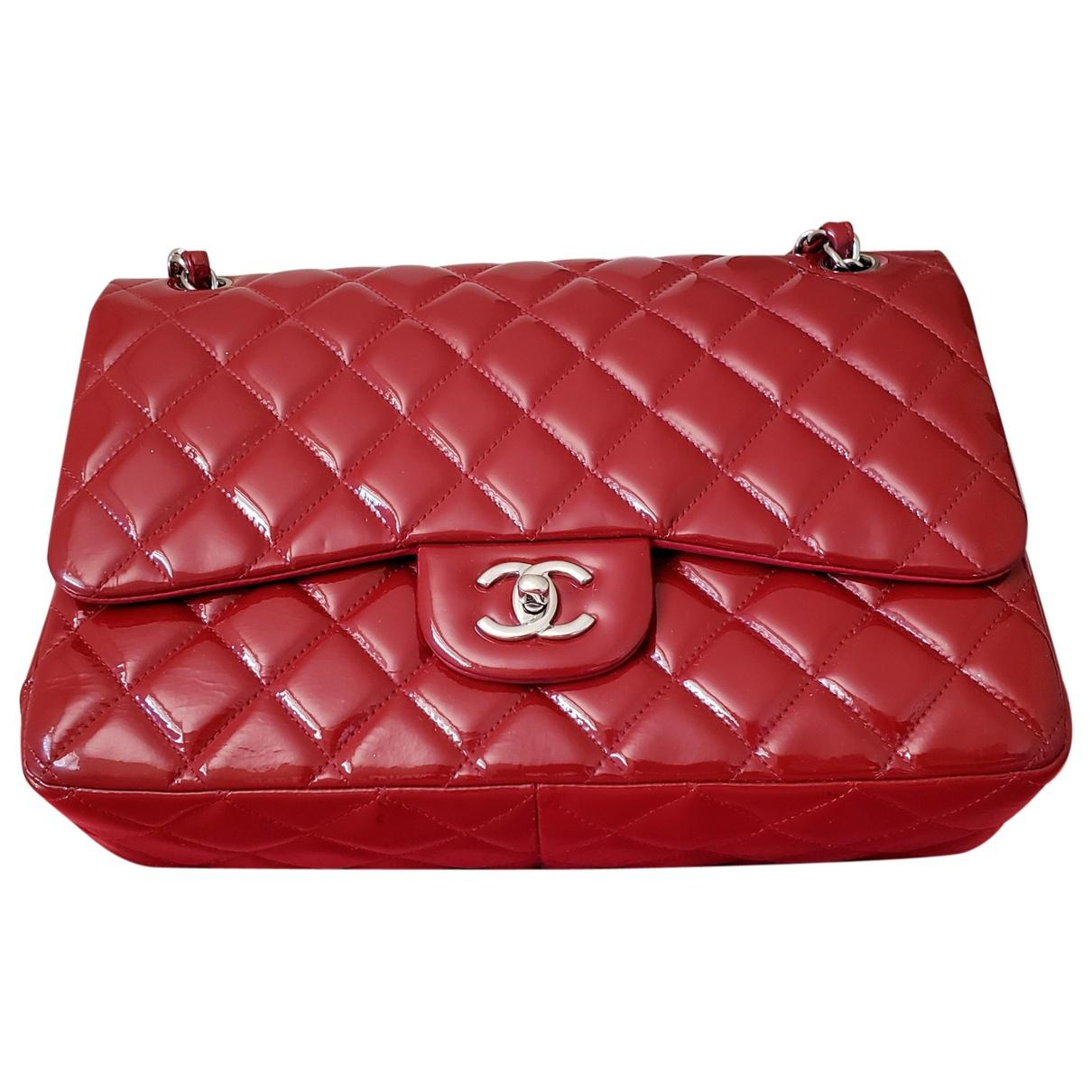 14b8d00bd042 Lyst - Chanel Timeless Patent Leather Bag in Red