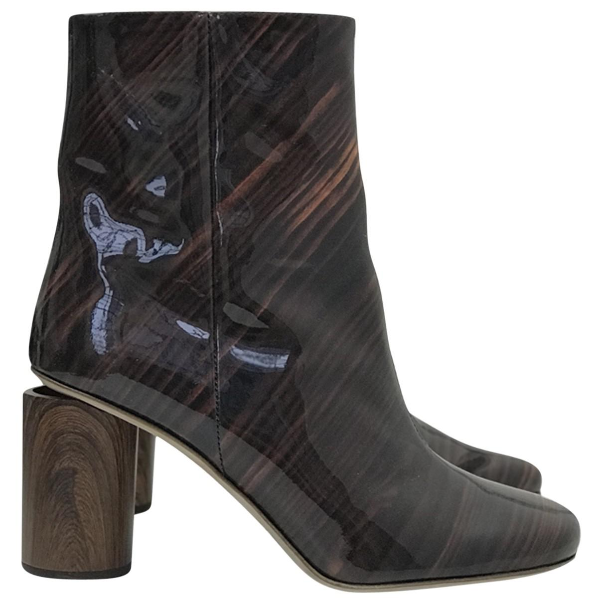 256b5b693456 Lyst - Acne Pre-owned Patent Leather Ankle Boots in Brown