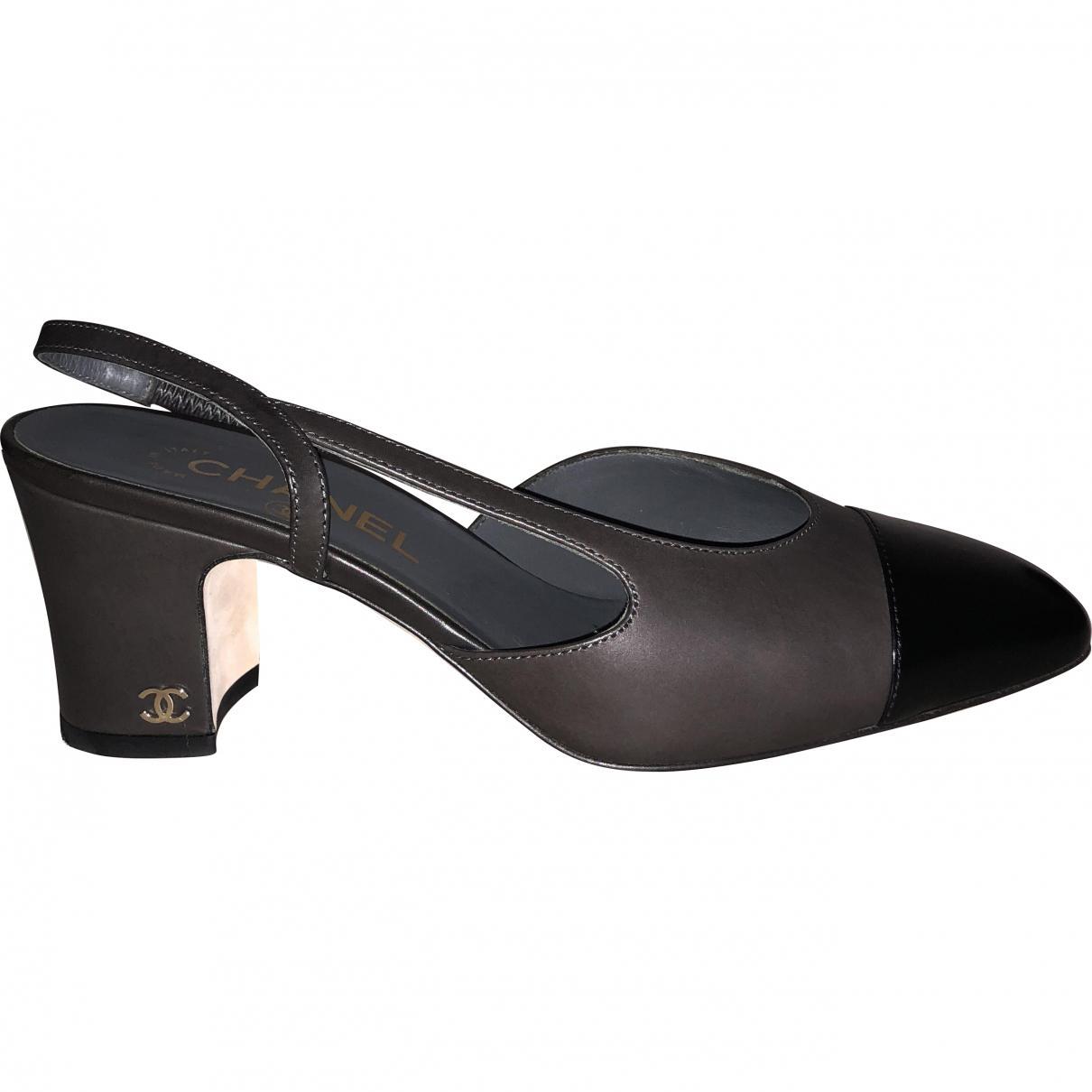 344e5a8a5cd Chanel Slingback Multicolour Leather Heels - Lyst