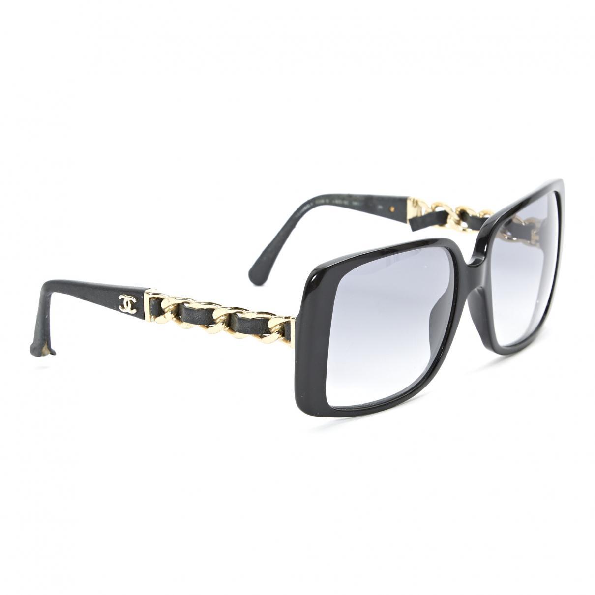 301ace4615 Lyst - Chanel Black Plastic Sunglasses in Black