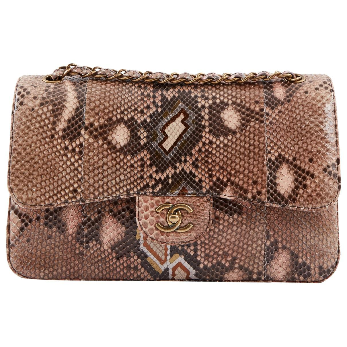 a4ec87b5475a Chanel Timeless Brown Python Handbag in Brown - Lyst
