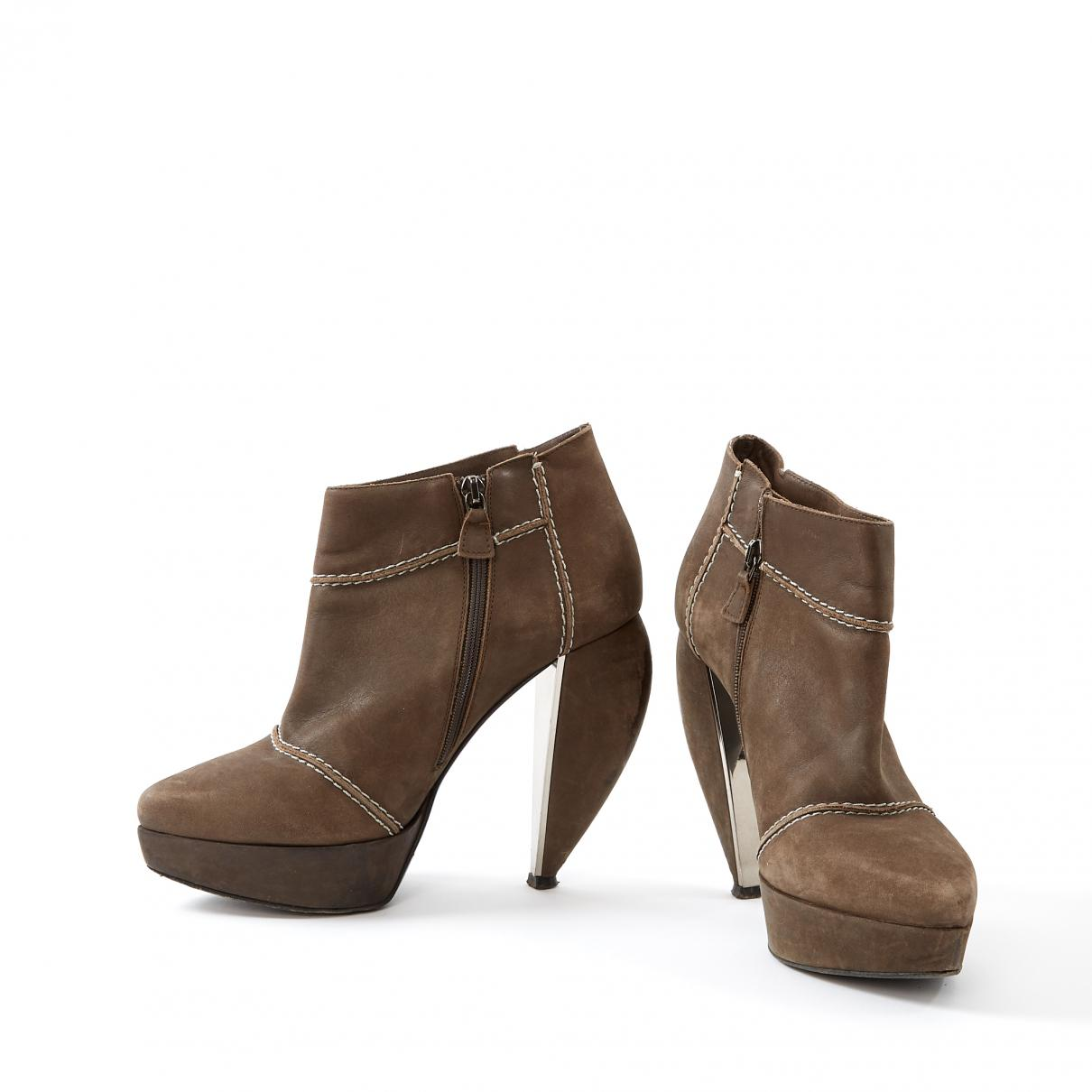 5130c7156a9b Lanvin - Brown Leather Ankle Boots - Lyst. View fullscreen