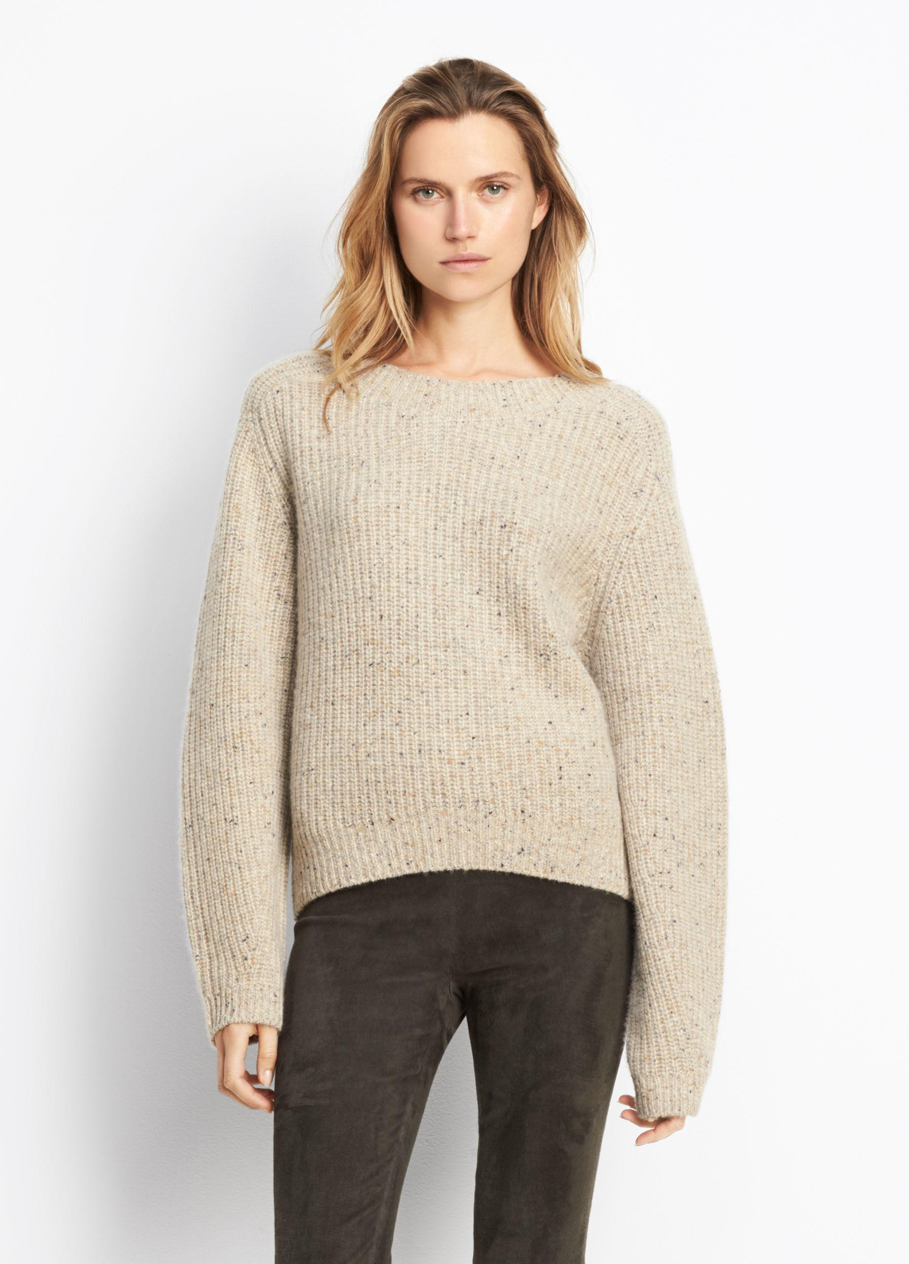 Vince Cashmere Cropped Saddle Pullover in Natural | Lyst