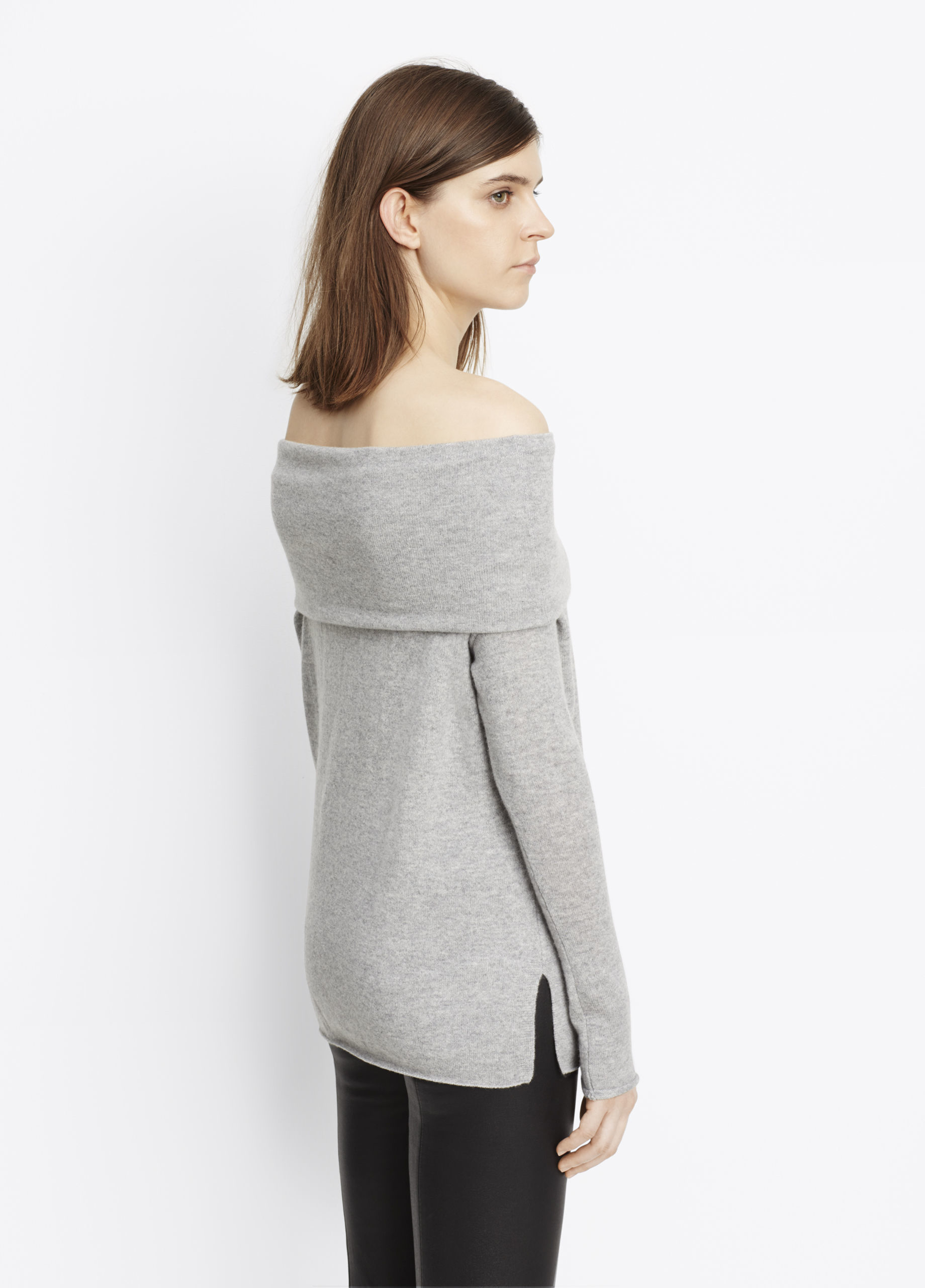 lyst vince cashmere off the shoulder relaxed pullover sweater in gray. Black Bedroom Furniture Sets. Home Design Ideas