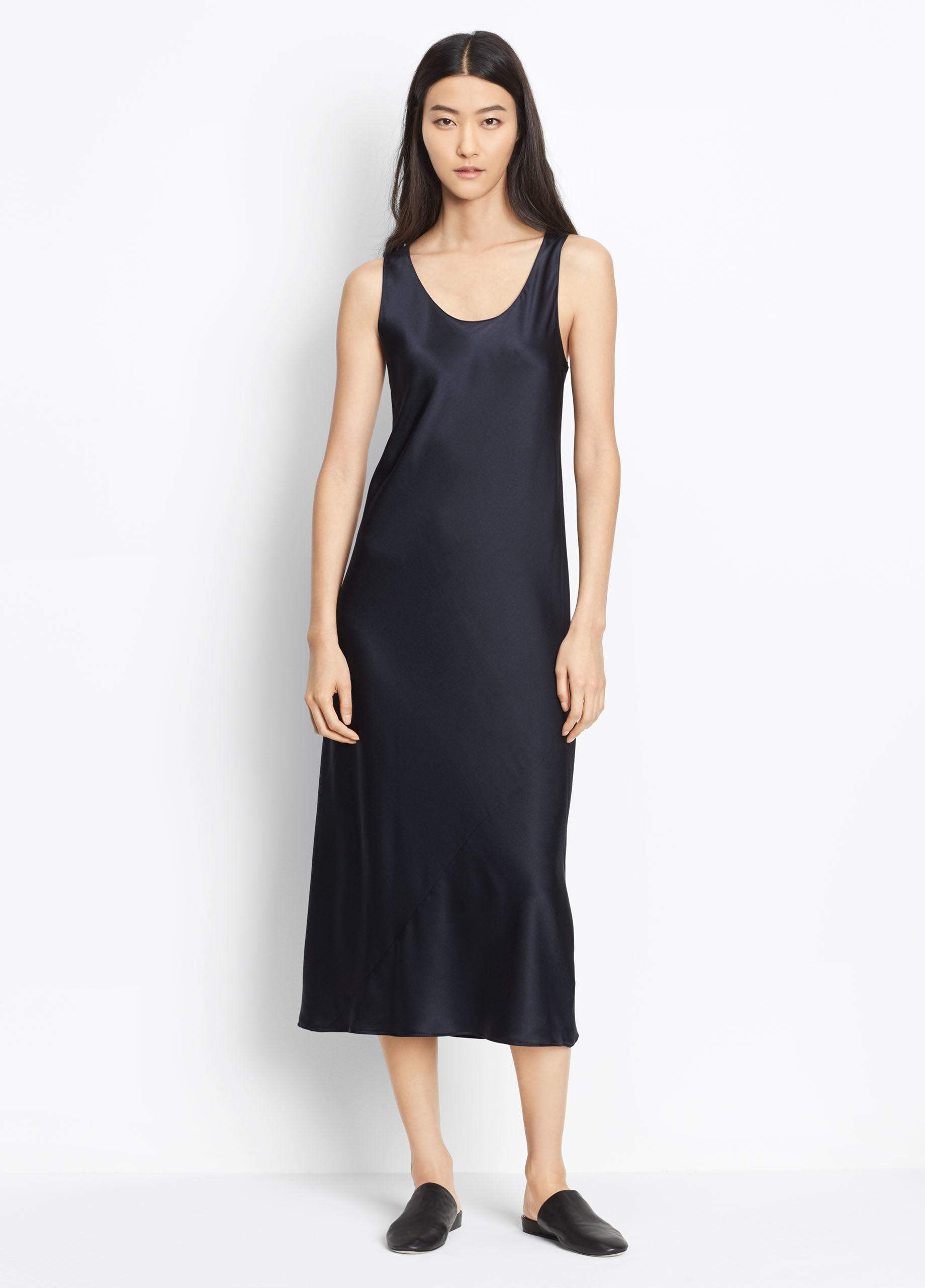 Lyst Vince Satin Slip Dress In Blue
