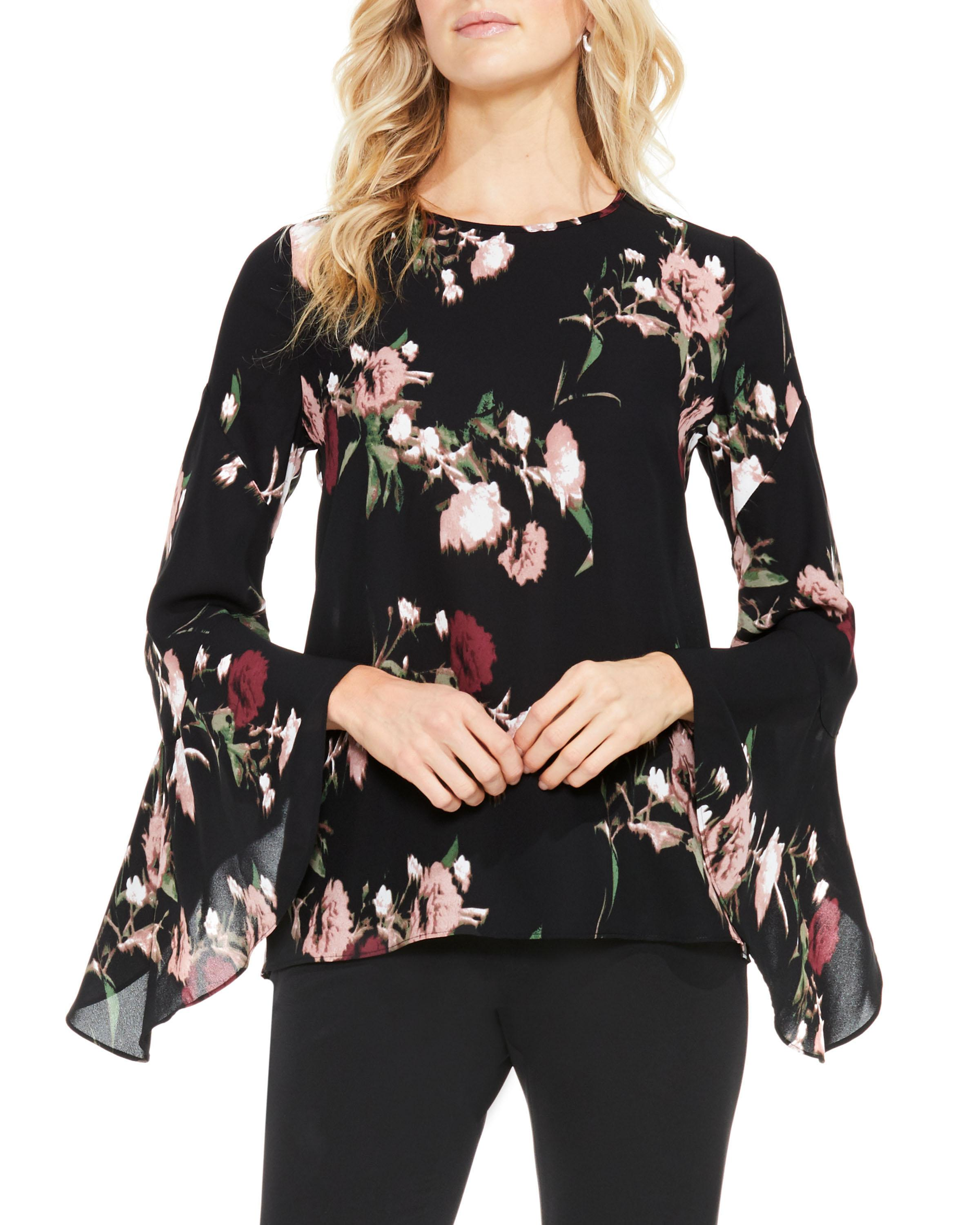 ef5fe5b517d7 Vince Camuto Floral-print Bell-sleeve Blouse in Black - Lyst