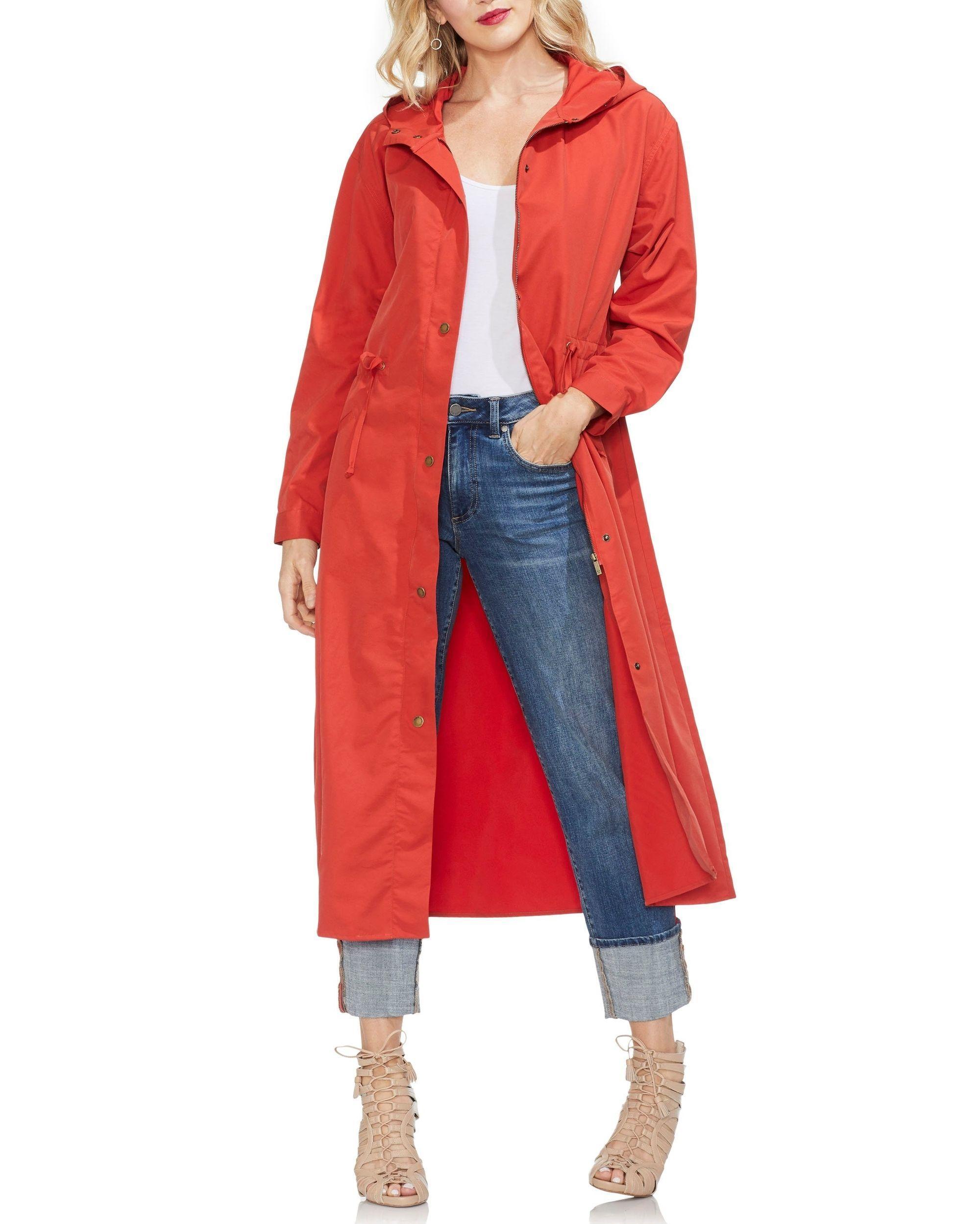92dd35c2095b Vince Camuto - Red Cinch-waist Hooded Coat - Lyst. View fullscreen