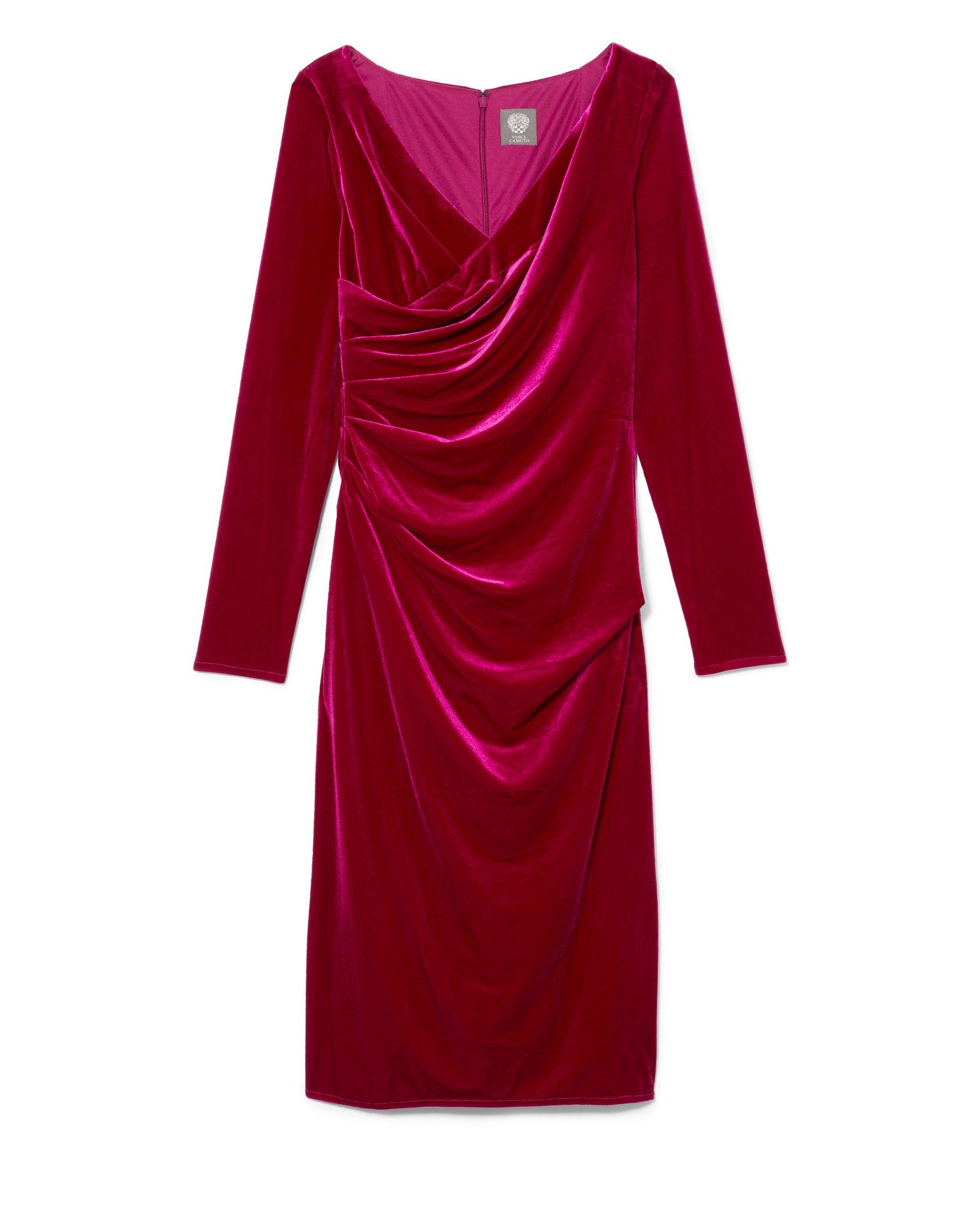 f6ced93cc7f Vince Camuto Velvet Ruched Dress in Red - Save 38% - Lyst