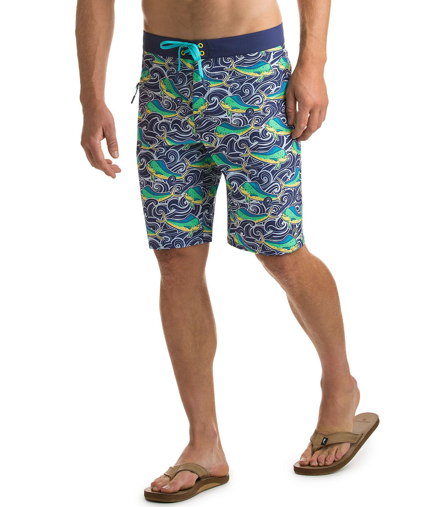 84f6e03466 Vineyard Vines Dolphin Fish Wave Laser Cut Board Shorts in Blue for ...