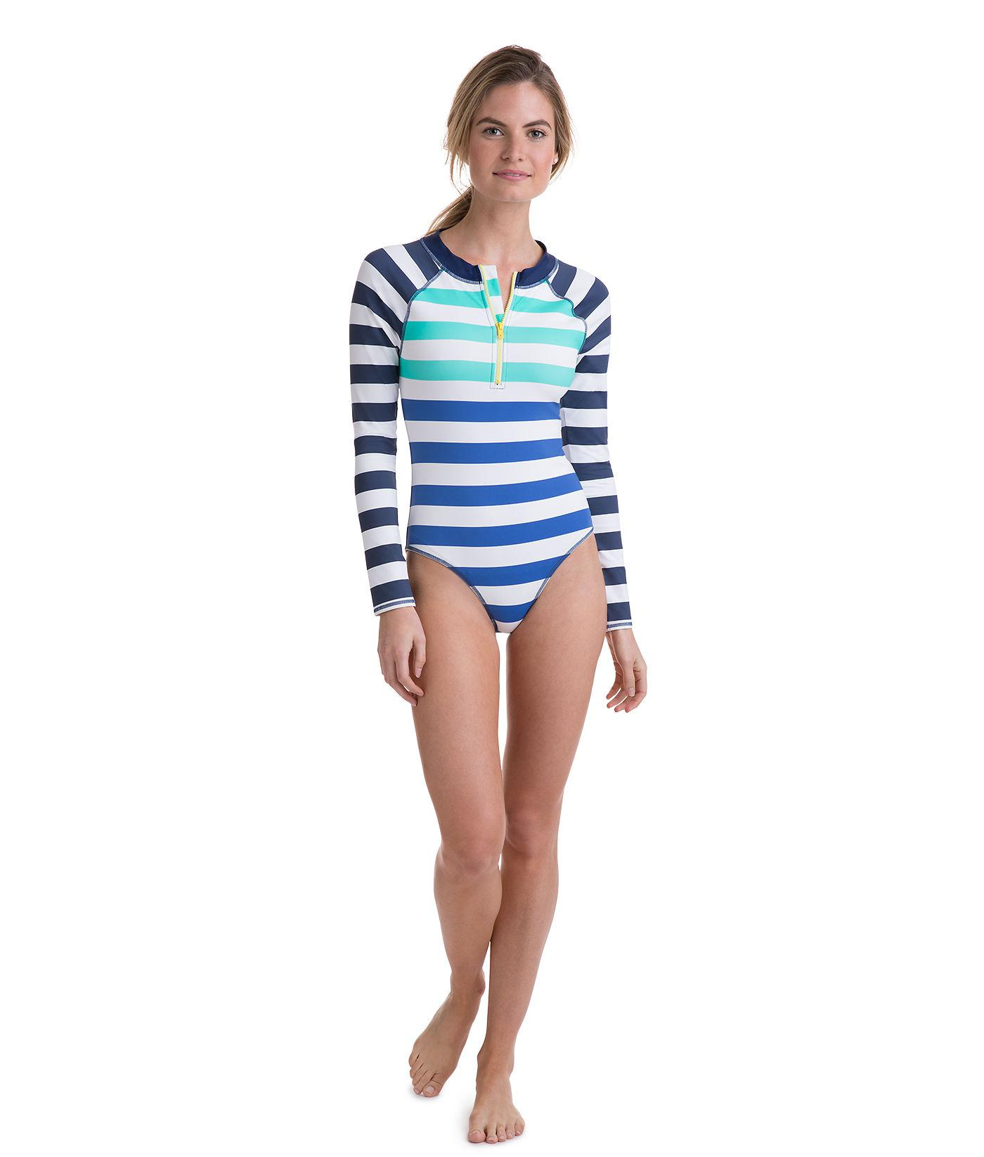 1e0657564d Lyst - Vineyard Vines Flag Stripe One Piece Rash Guard in Blue