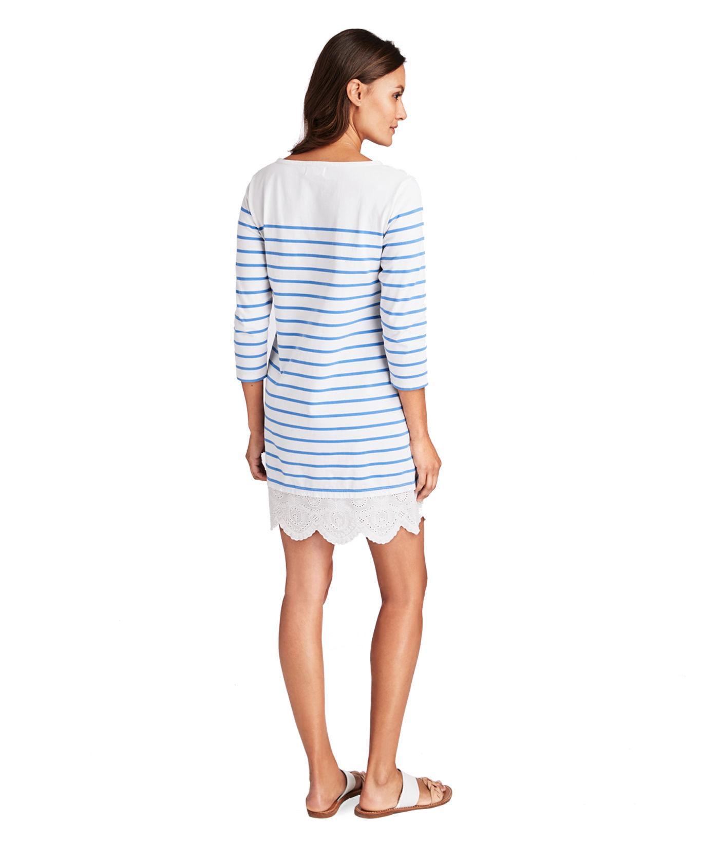 e77e7205965 Lyst - Vineyard Vines Long-sleeve Stripe Knit Lace Hem Dress in Blue