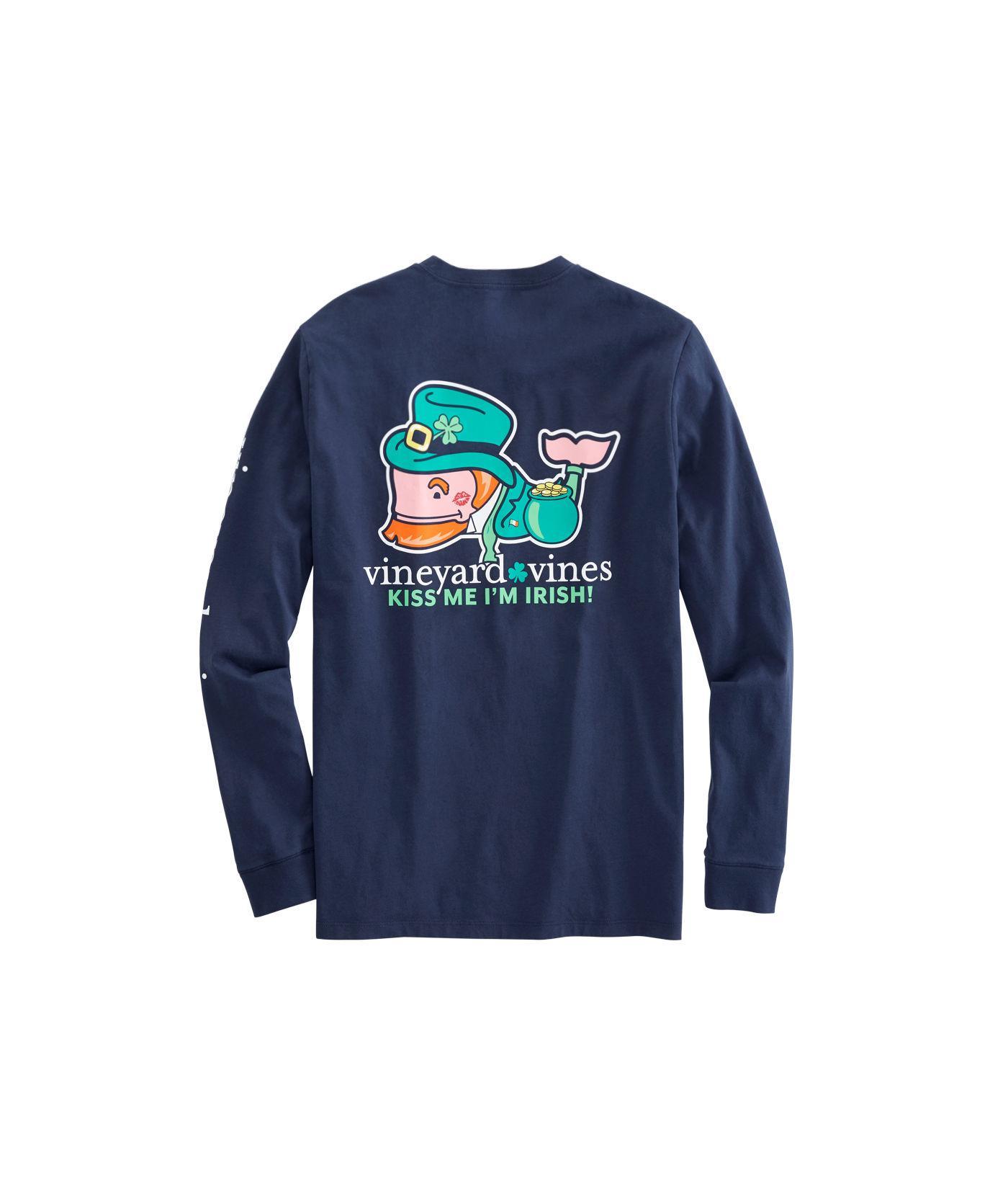 f7e7064bf5ca Lyst - Vineyard Vines Long-sleeve Kiss Me I m Irish Pocket T-shirt ...