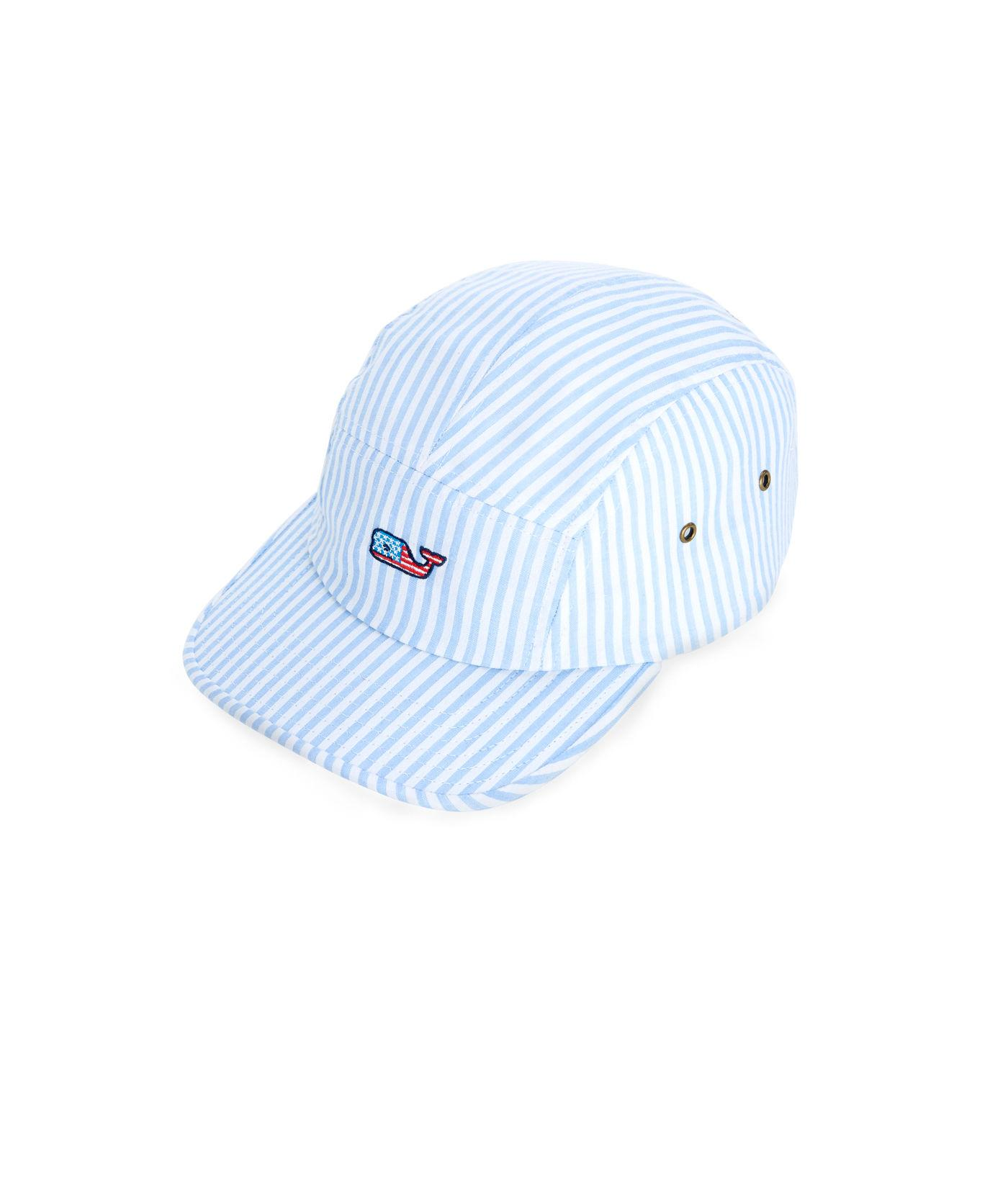 9f7e73ed10f Lyst - Vineyard Vines Seersucker Flag Whale Five Panel Hat in Blue ...