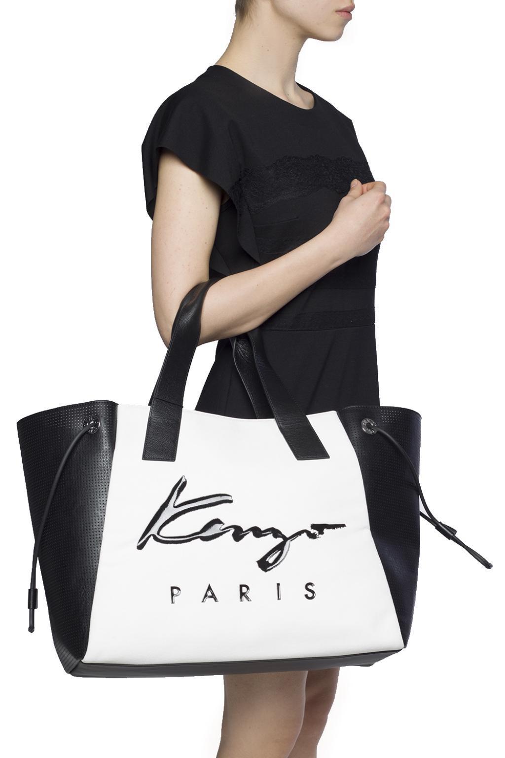 1da93a9215 KENZO Logo-printed Shopper Bag in White - Lyst