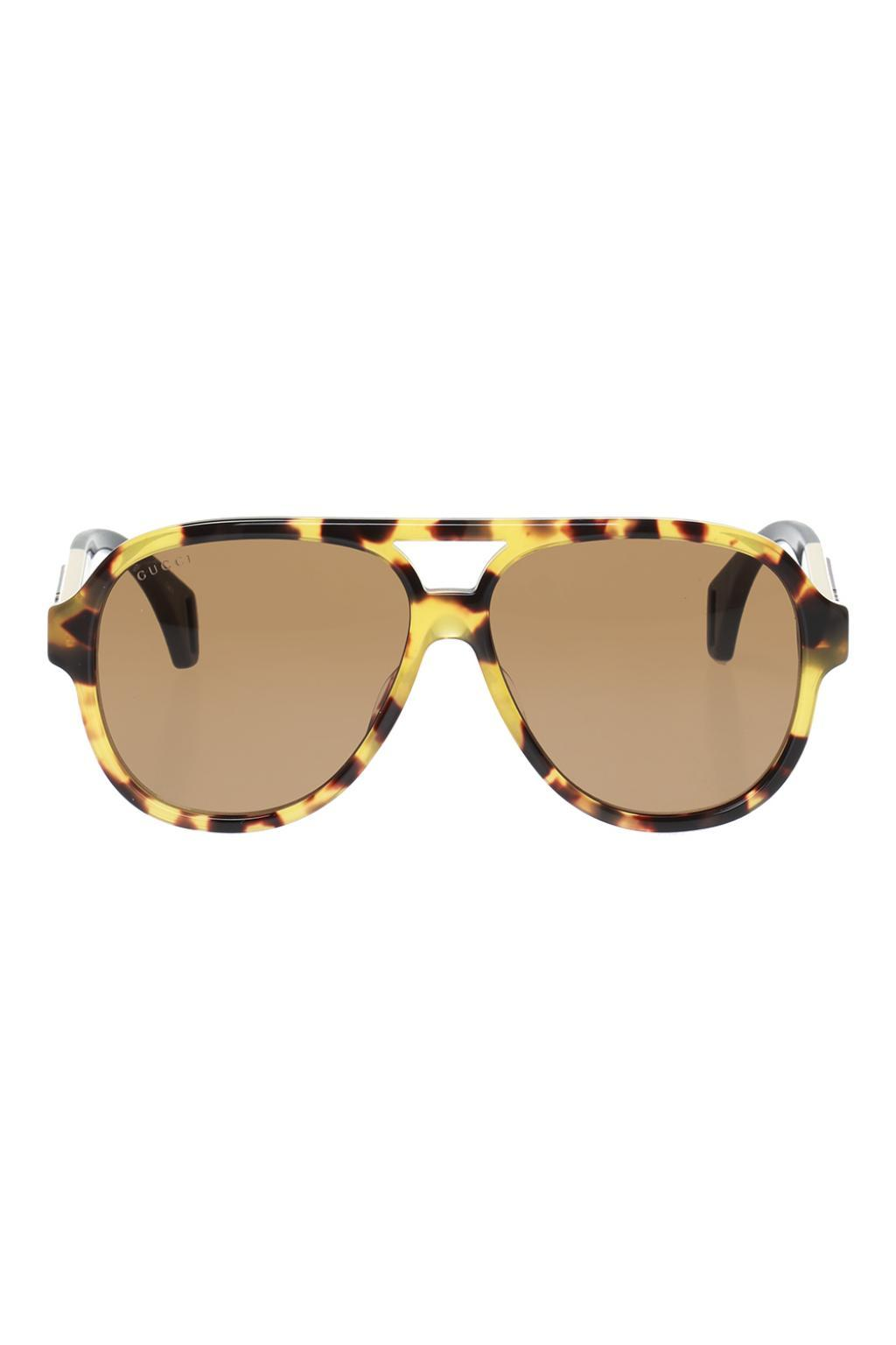 5e5f46036 Lyst - Gucci Sunglasses With A Logo in Brown for Men