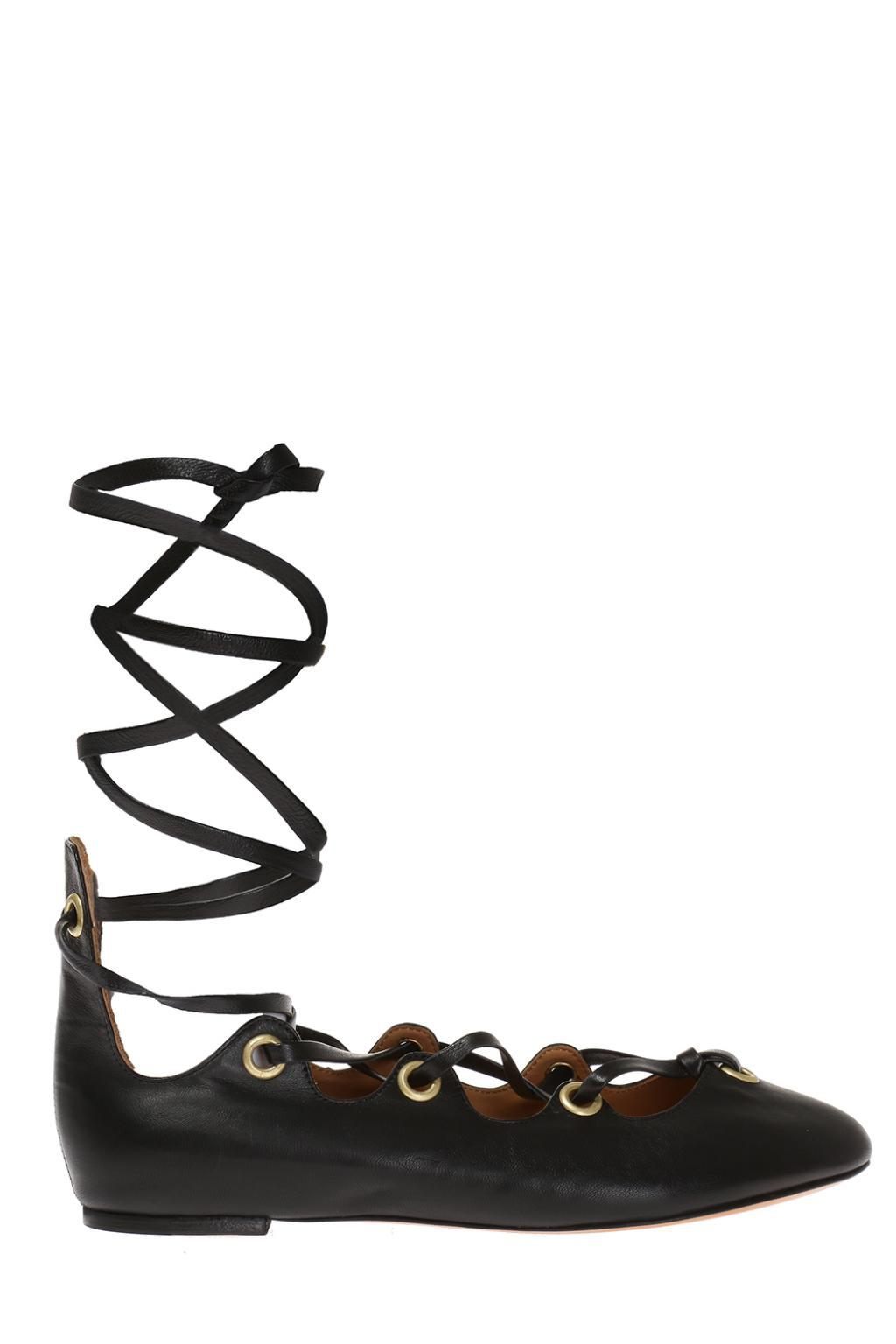 Isabel Marant Black Leomia Lace-Up Ballerina Flats