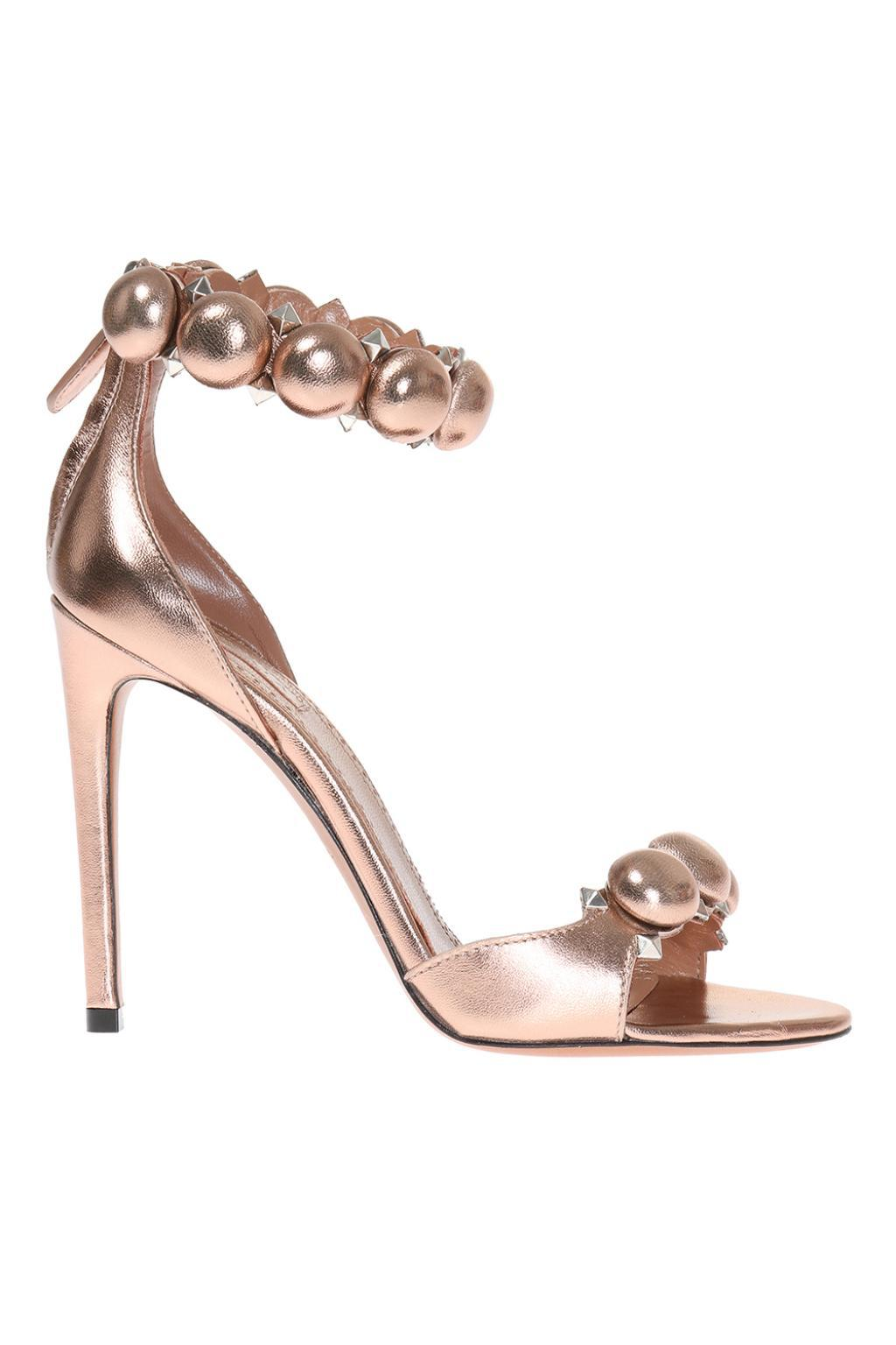 3a31305bb65 Lyst - Alaïa Leather High Heel Sandals in Metallic
