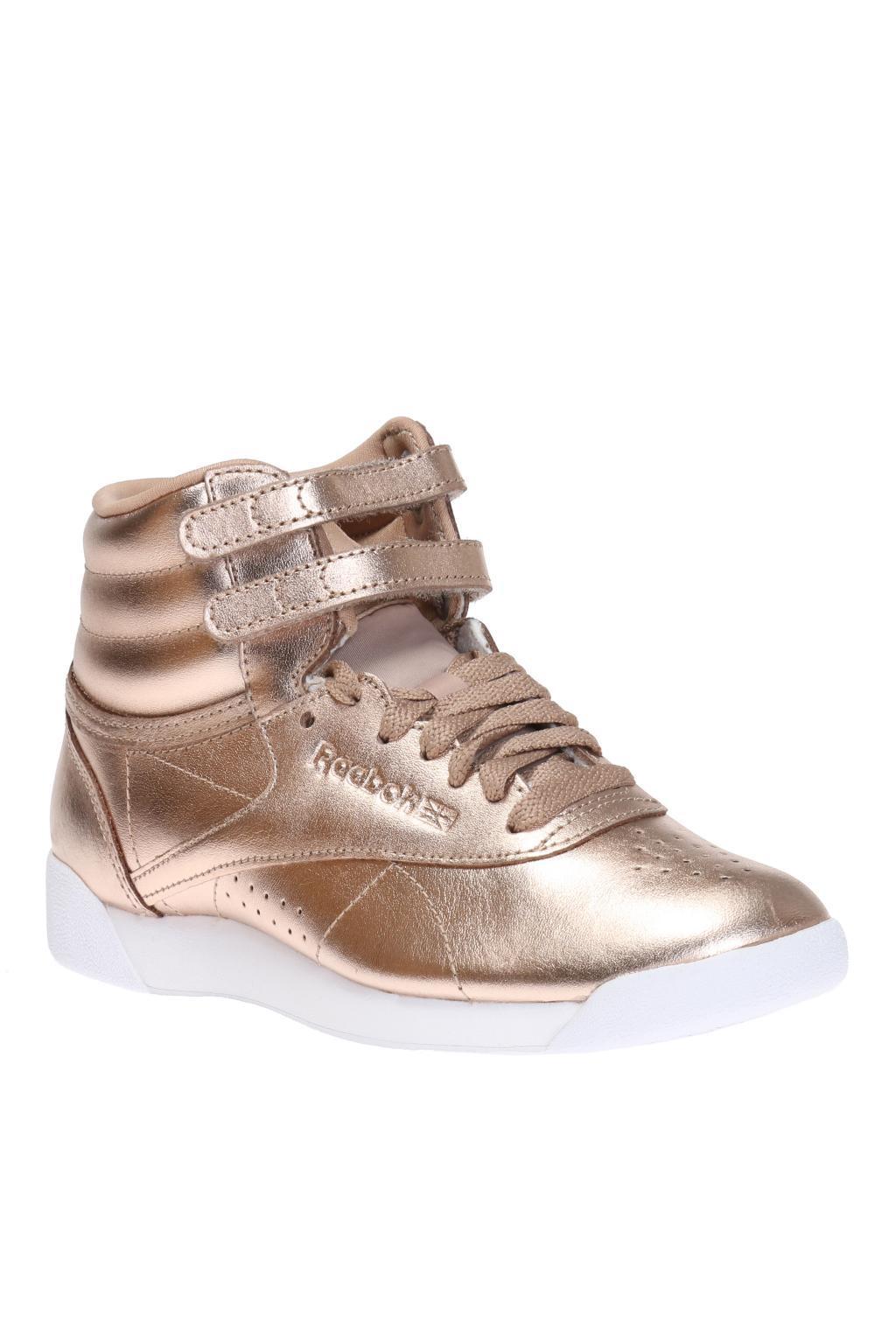 Lyst - Reebok  freestyle Hi Metallic  Sneakers in Pink e22539a500