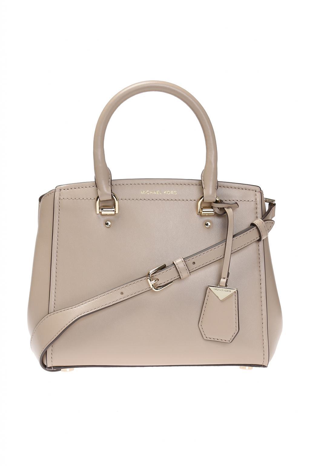 8d5bc8cf8ad5 Michael Kors Benning  Shoulder Bag in Natural - Save ...
