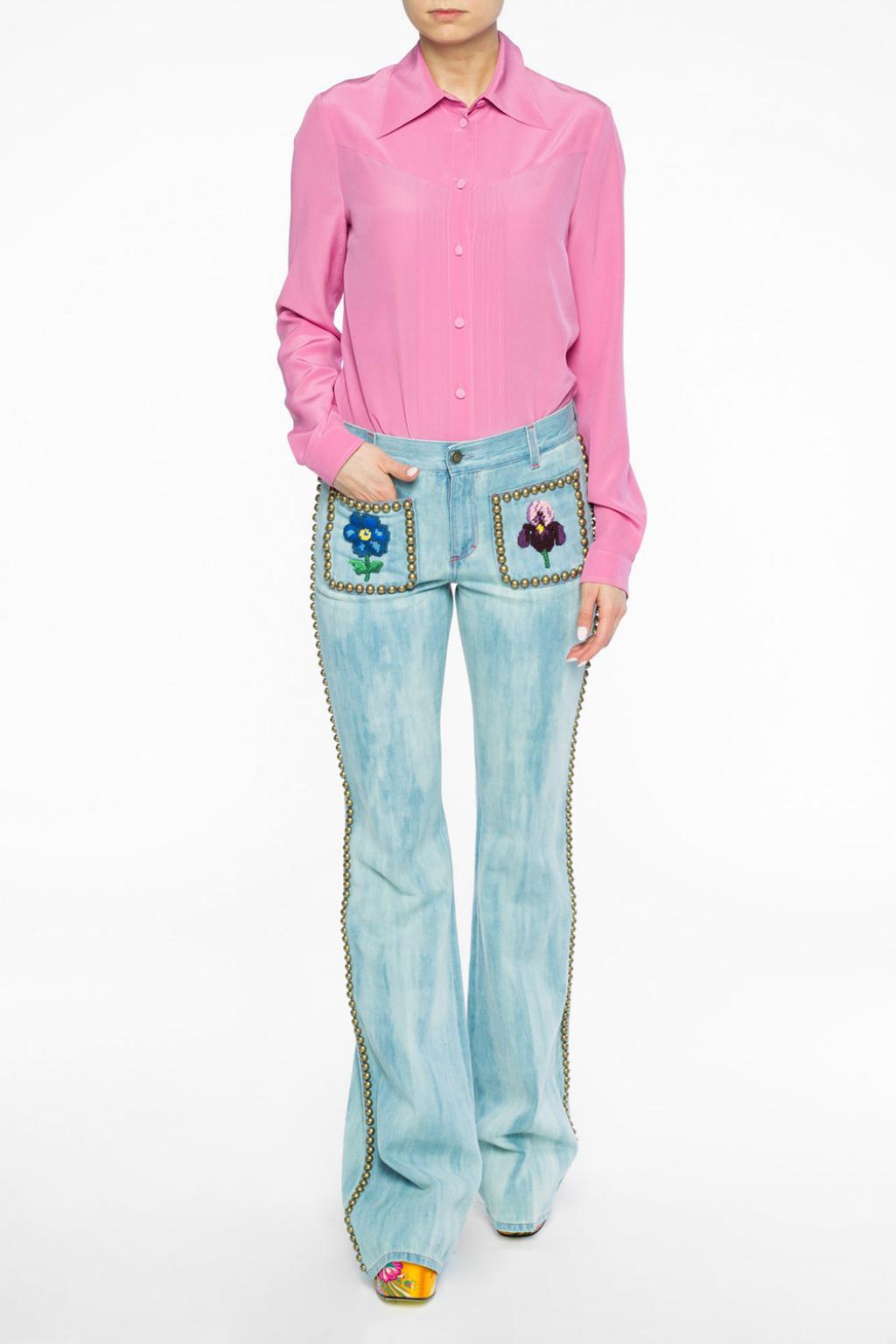 12b31f17f67c3 Lyst - Gucci Embroidered Flared Jeans in Blue