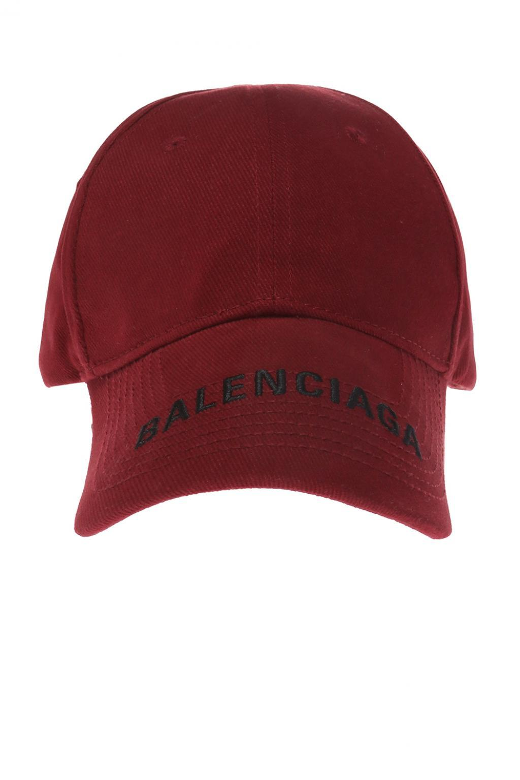 fc925648 Balenciaga Burgundy Logo Cap in Red - Save 11% - Lyst