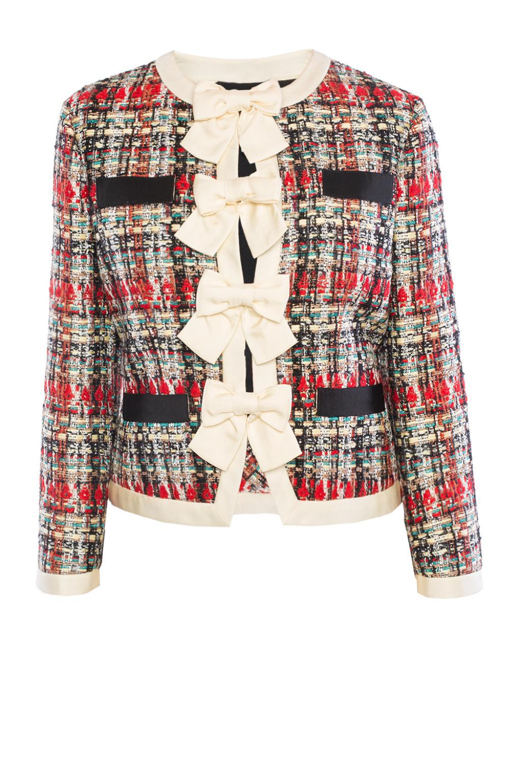 283a35c95 Gucci Tweed Jacket With Bows in Red - Lyst