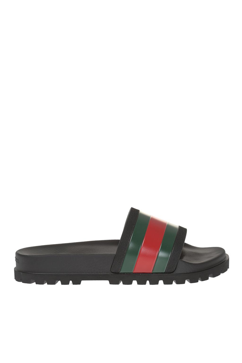 a434e4d6d25f55 Lyst - Gucci Striped Web Rubber Slides in Black for Men - Save 30%