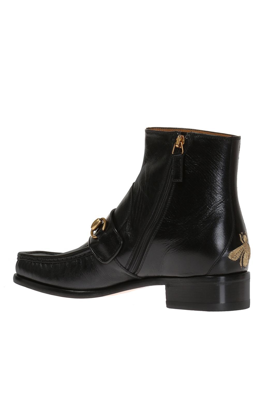 19347ec9056 Gucci Bee-embroidered Ankle Boots in Black for Men - Lyst