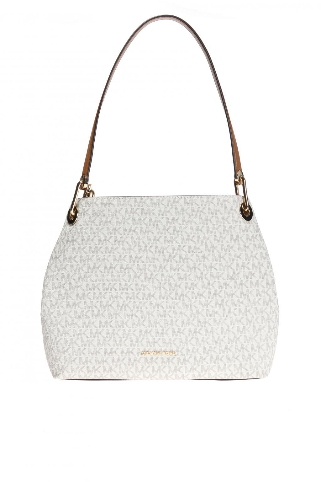 a89a78289c43 ... release date lyst michael kors raven shoulder bag in white 219ab d1134