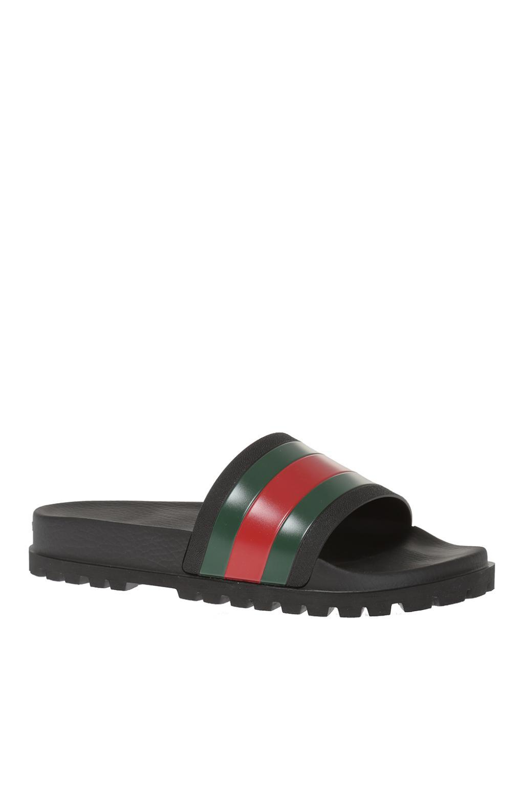 a217f5ba8b383 Lyst - Gucci Striped Web Rubber Slides in Black for Men - Save 30%