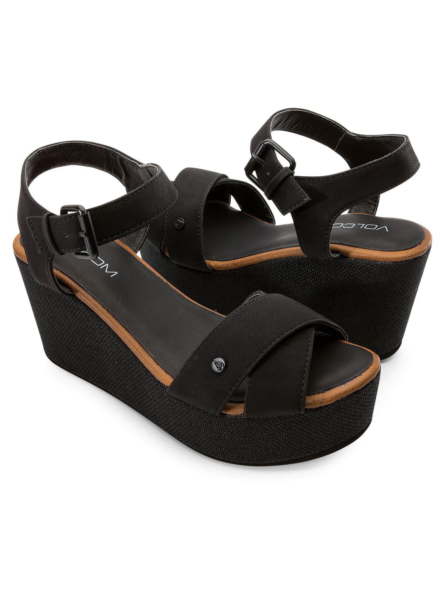 Volcom. Women's Black Stone Platform Sandals