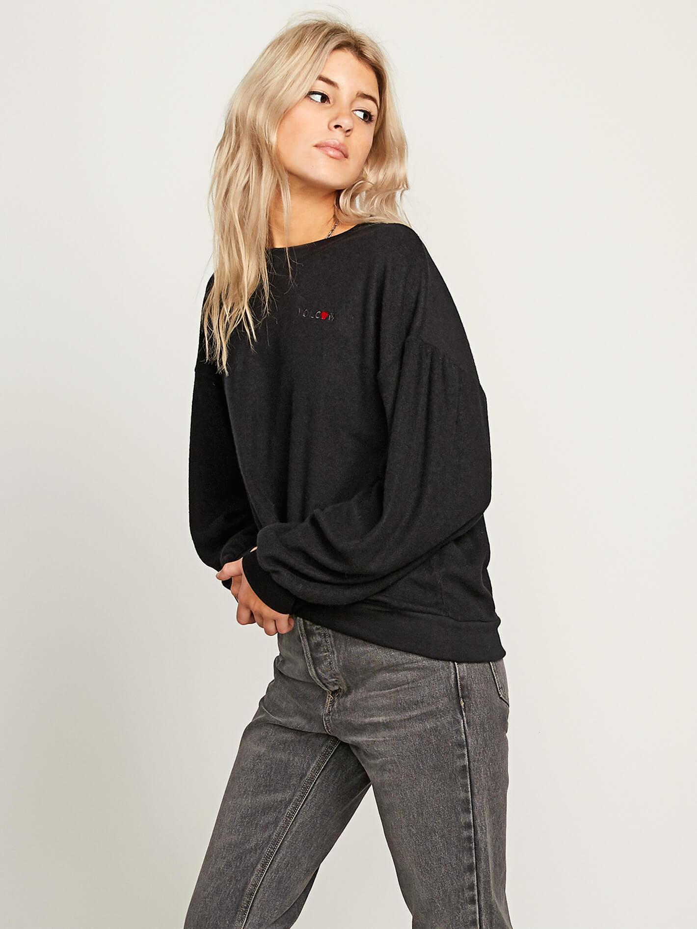 Fullscreen Fleece Sweatshirt Black Crew Volcom Lyst Pleaze View vw0Pp5q