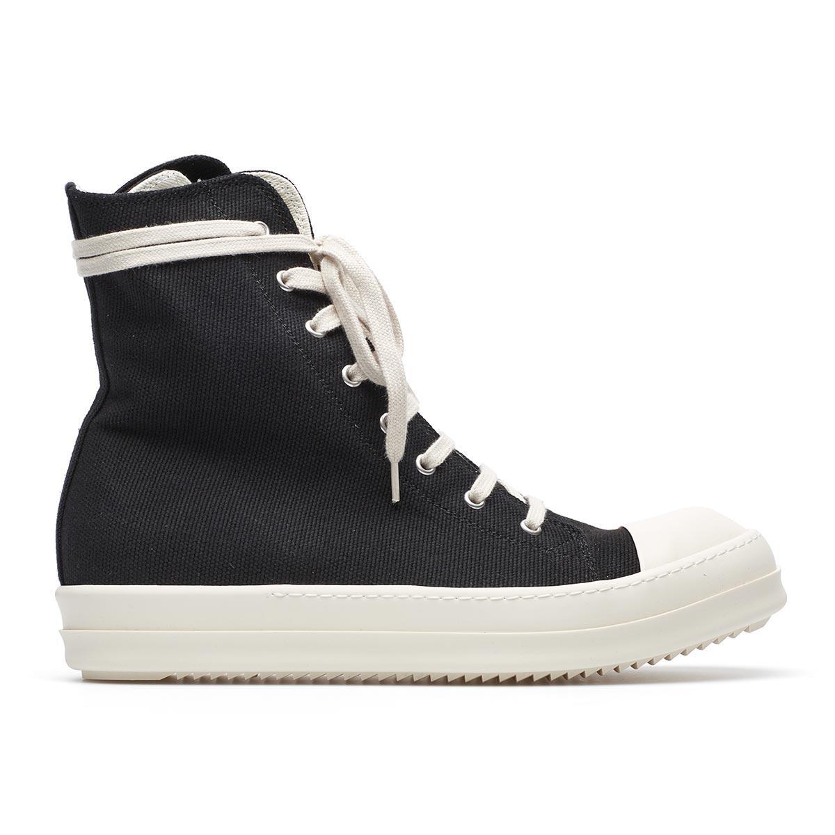 lyst rick owens drkshdw canvas high top sneakers in black for men. Black Bedroom Furniture Sets. Home Design Ideas