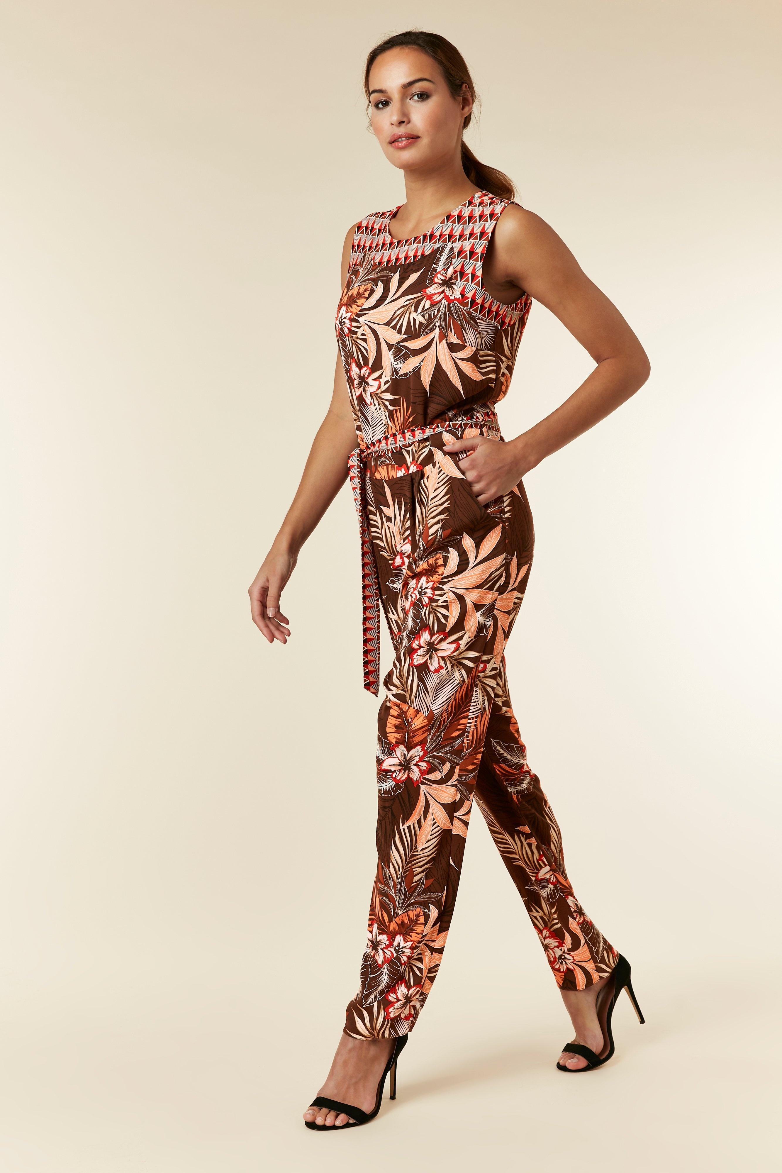 2f975069758 Wallis Tall Brown Palm Print Jumpsuit in Brown - Lyst