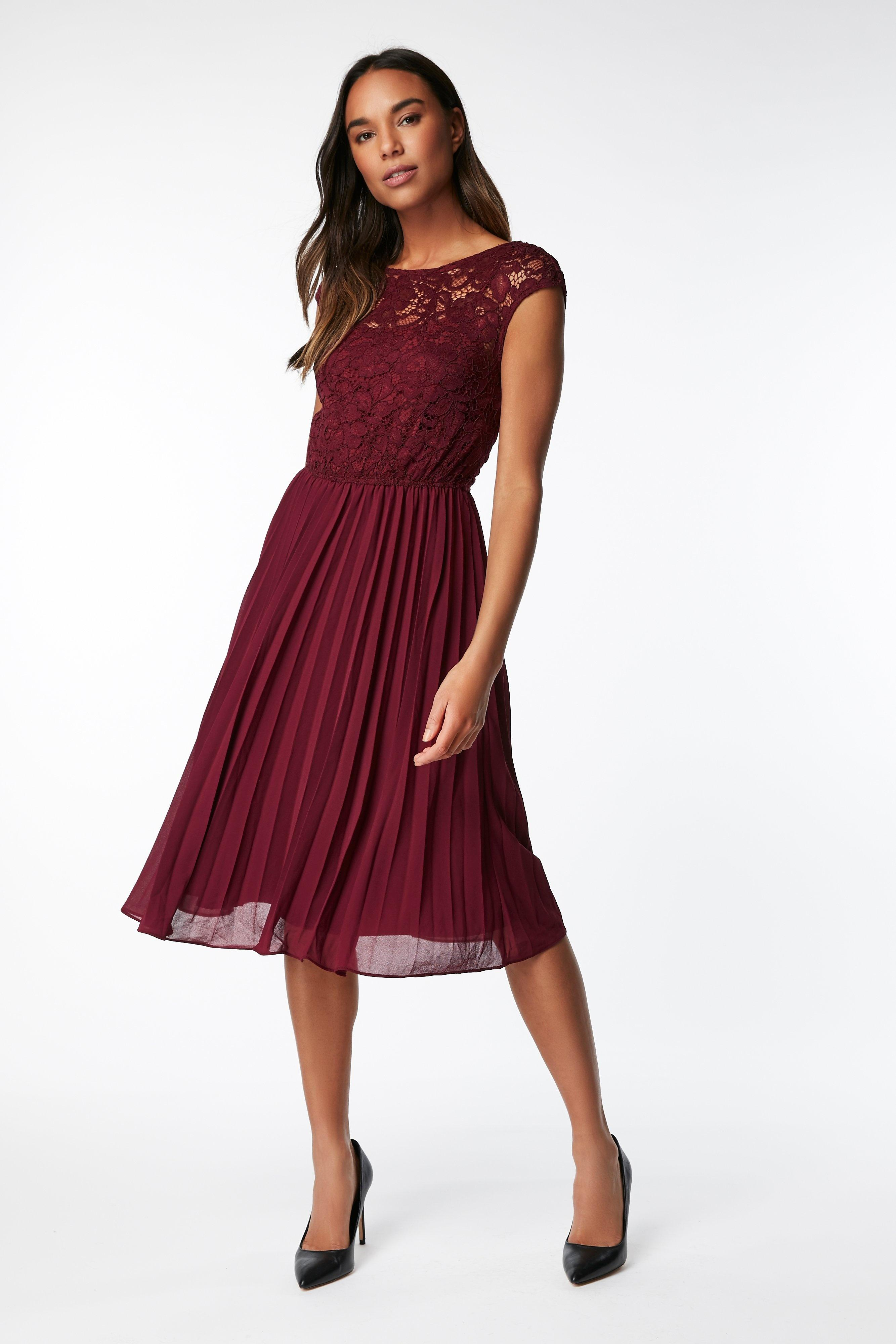 35bad31846c Wallis   jolie Moi Berry Lace Midi Dress in Red - Lyst