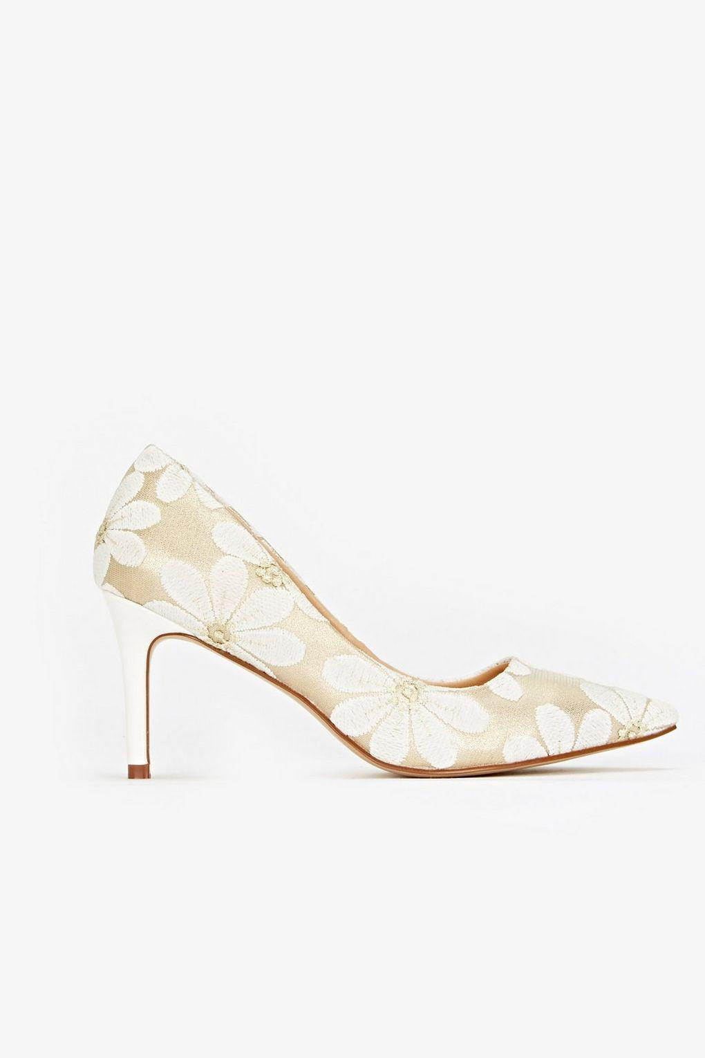 845af0a8a Wallis White Floral Mesh Pointed Heel Court Shoe in White - Lyst