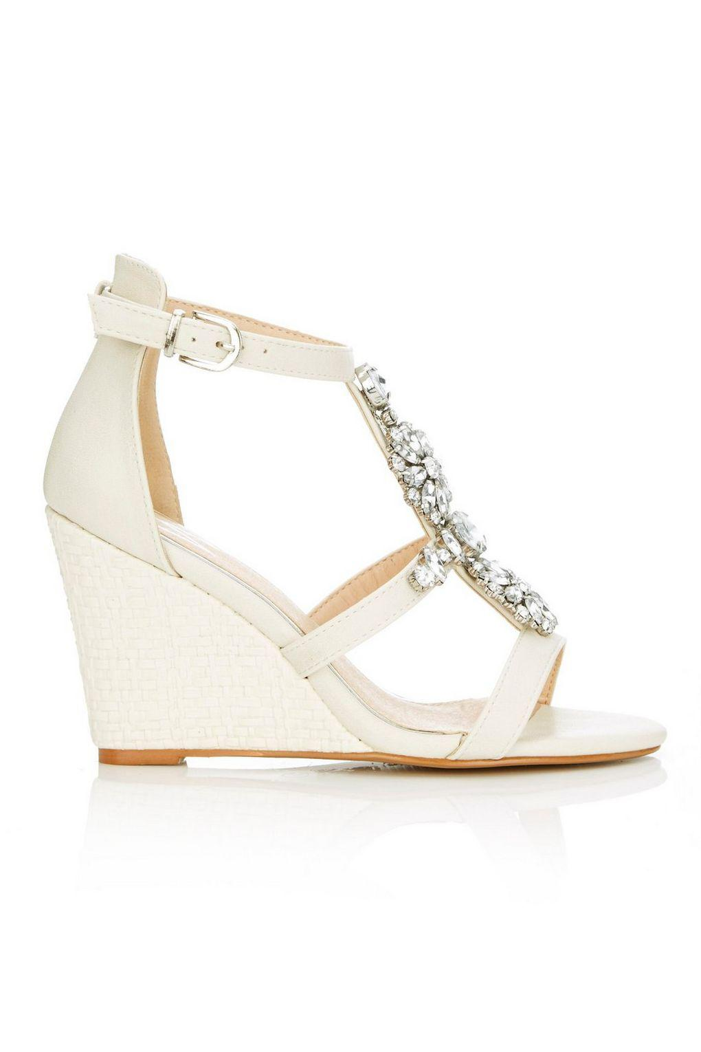 bb68745a62d7 Wallis Cream Jewelled Wedge Sandal in Natural - Lyst