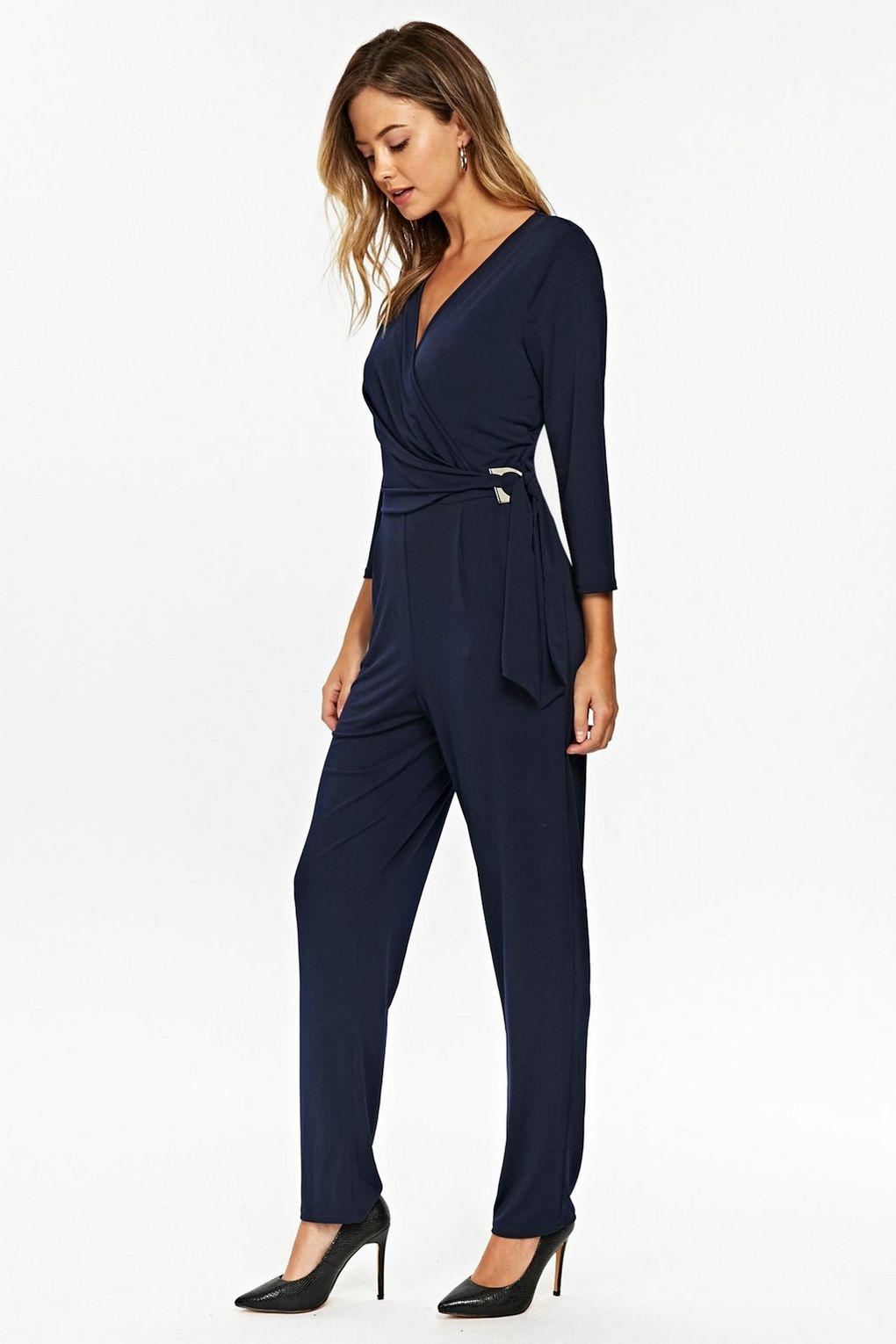 00b17bd16080 Wallis Navy Ring Detail Long Sleeve Jumpsuit in Blue - Lyst