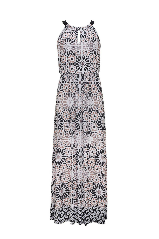 Wallis Neutral Tile Print Maxi Dress Lyst Jolie Clothing Joie Midi Nude M Womens