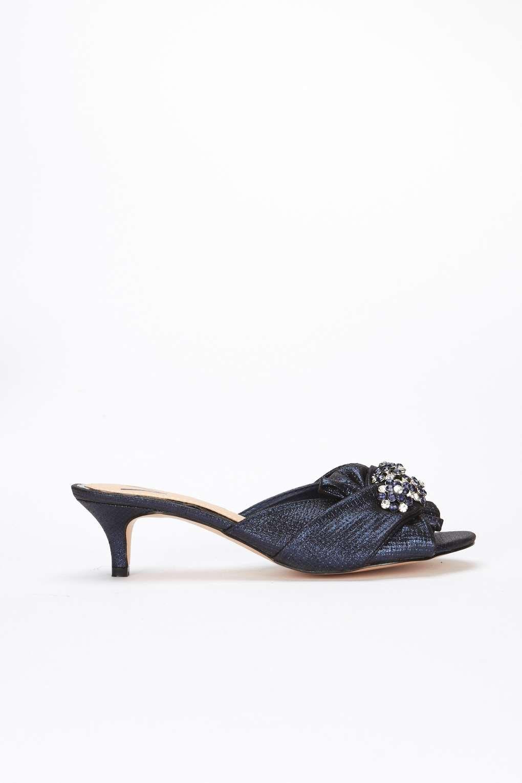 251f45c1f4c Wallis Navy Kitten Heel Mule Embellished Sandal in Blue - Lyst