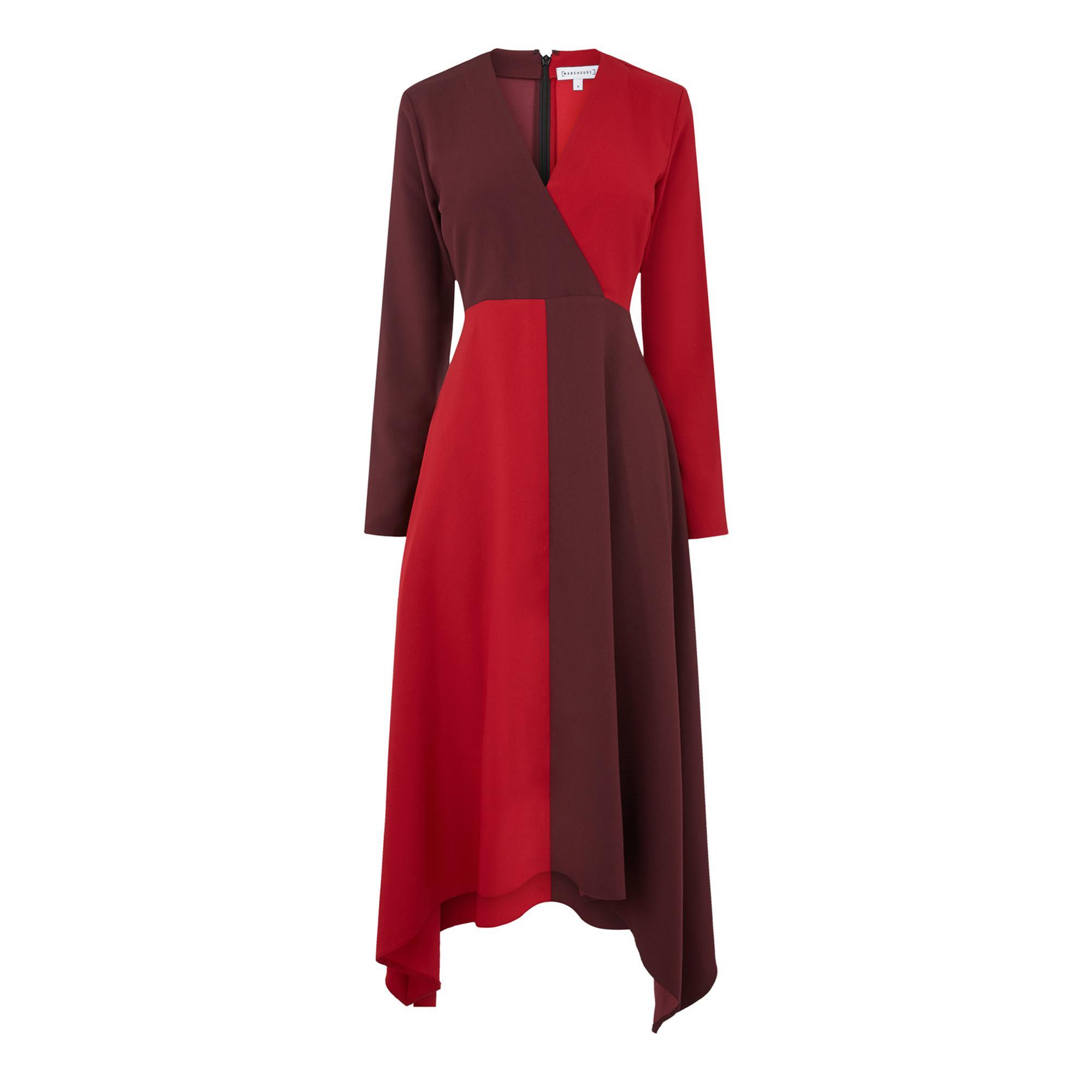 b7d946bcd6 Warehouse Ruby Colour Block Midi Dress in Red - Lyst