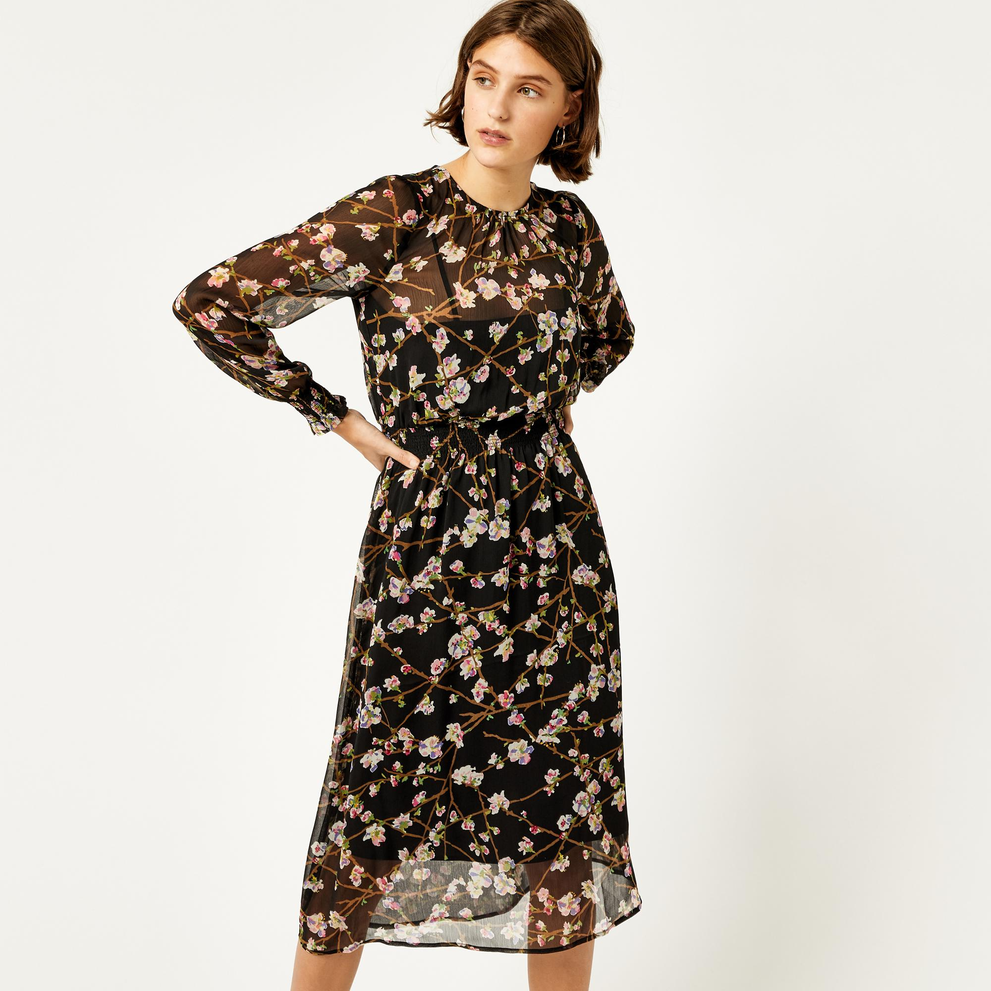 a586188a7ca Warehouse Sweet Cherry Midi Dress in Black - Lyst